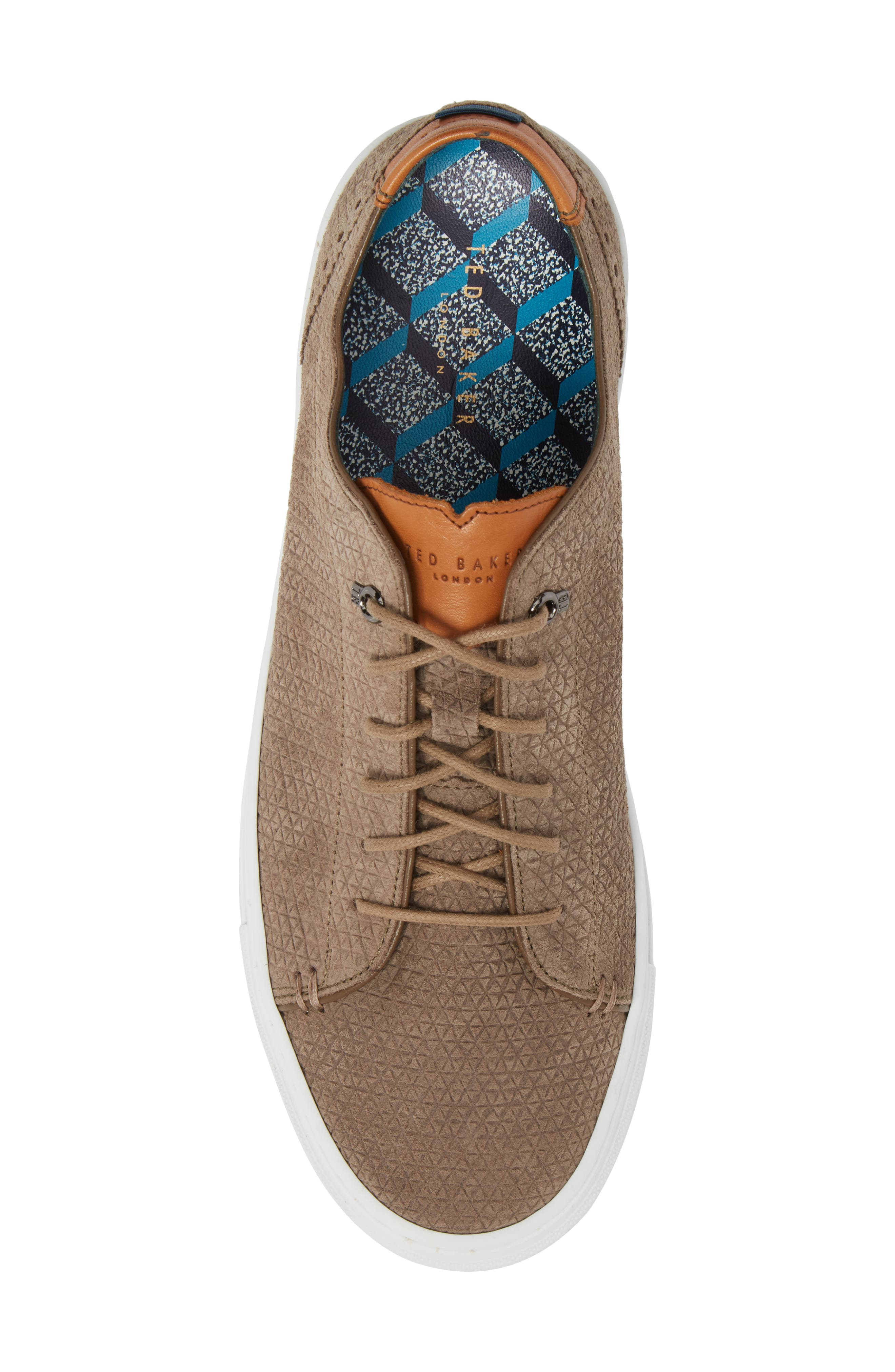 Duukes Embossed Low Top Sneaker,                             Alternate thumbnail 5, color,                             Grey Embossed Suede