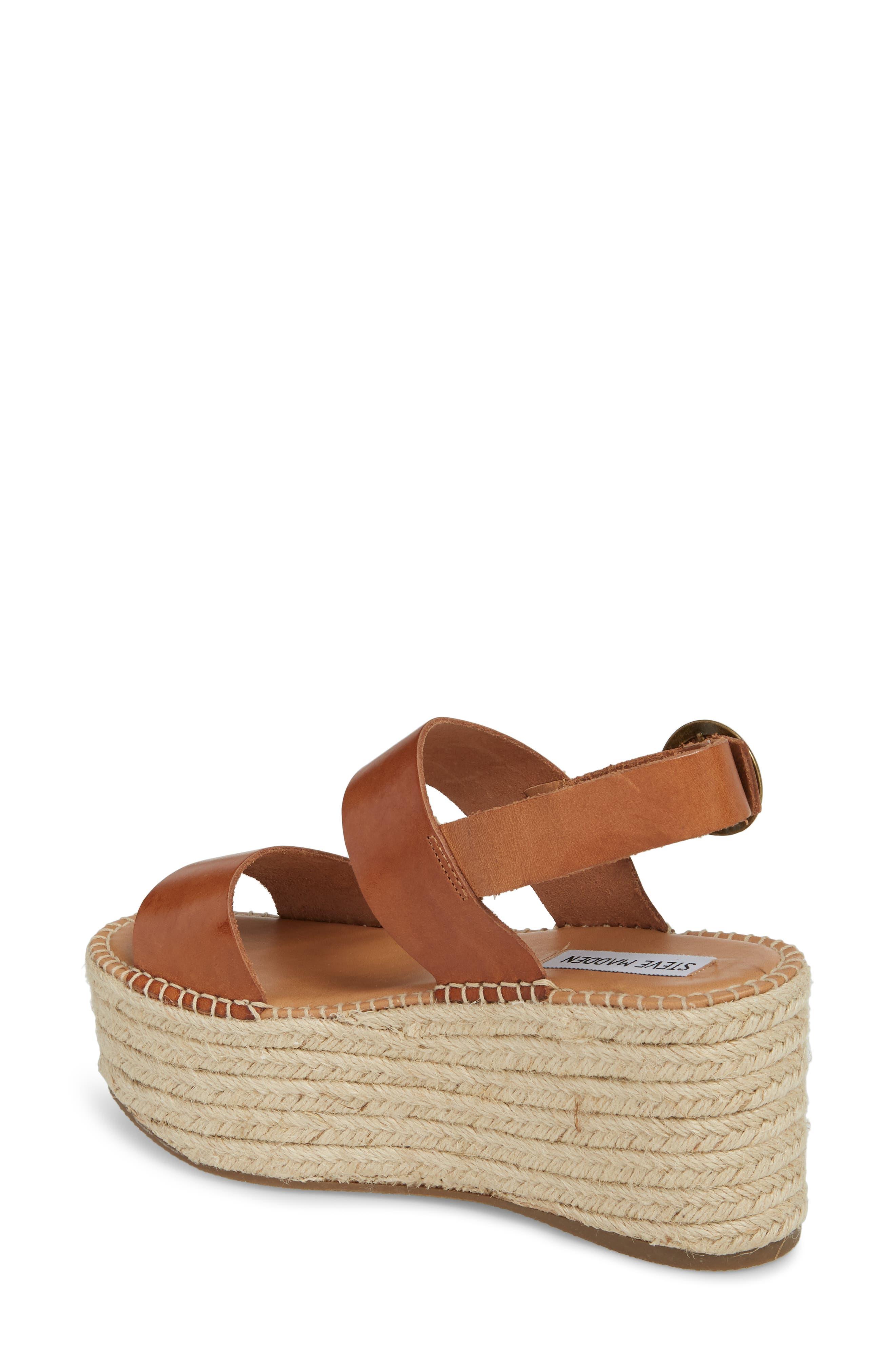Cali Espadrille Platform Sandal,                             Alternate thumbnail 2, color,                             Cognac Leather