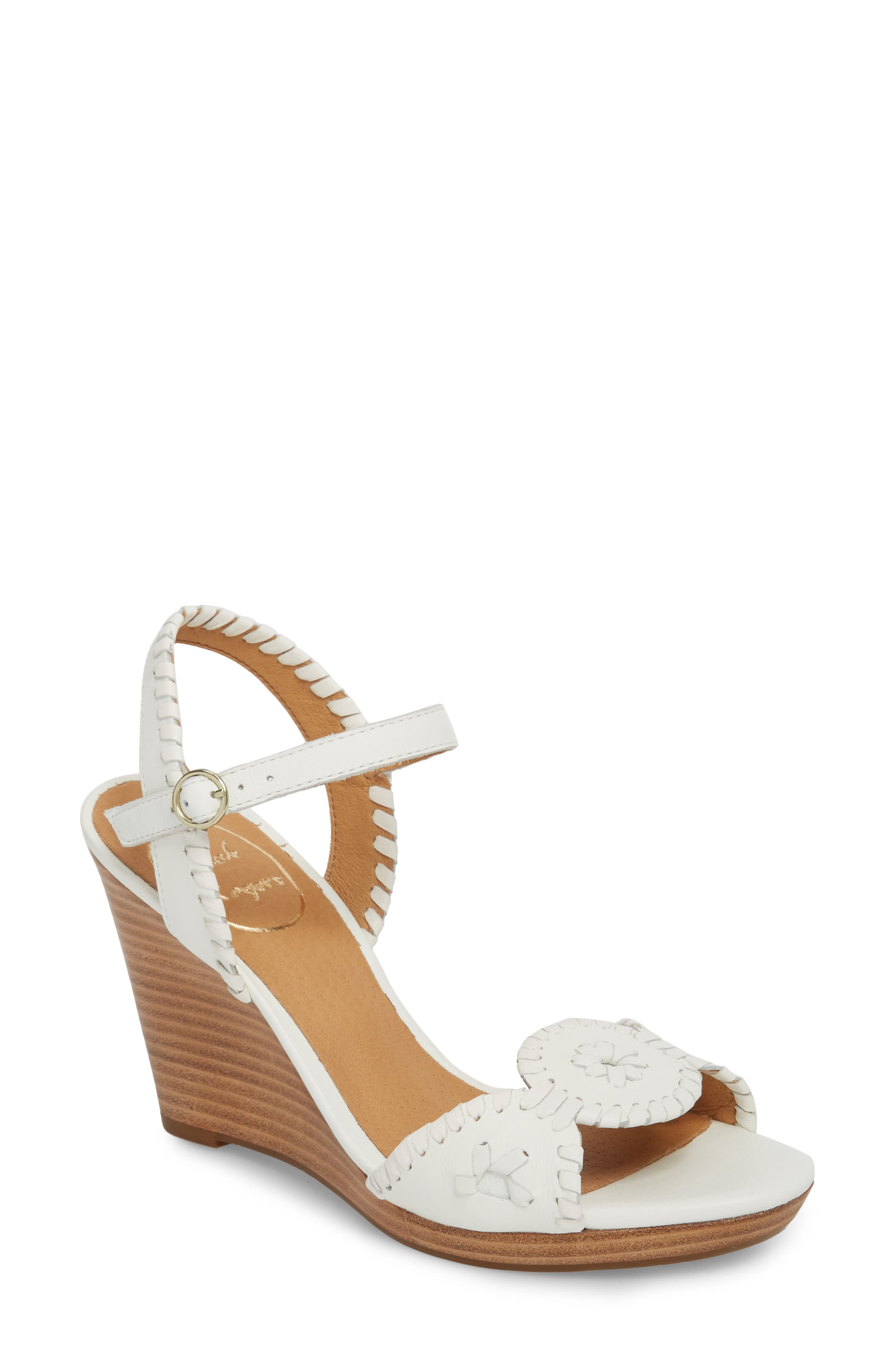 Jack Rogers 'Clare' Rope Wedge Leather Sandal (Women)