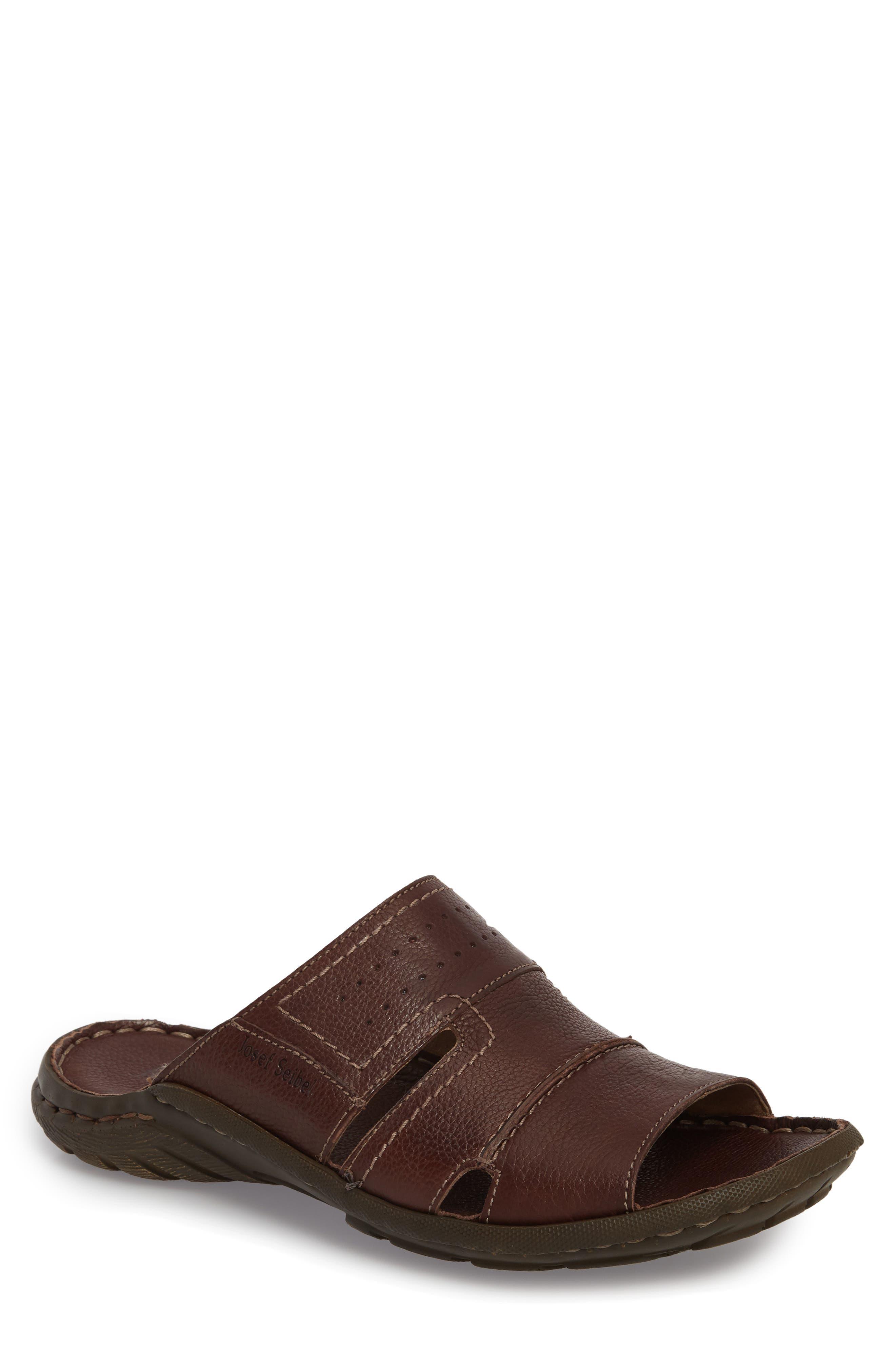 Logan Slide Sandal,                             Main thumbnail 1, color,                             Brown Leather