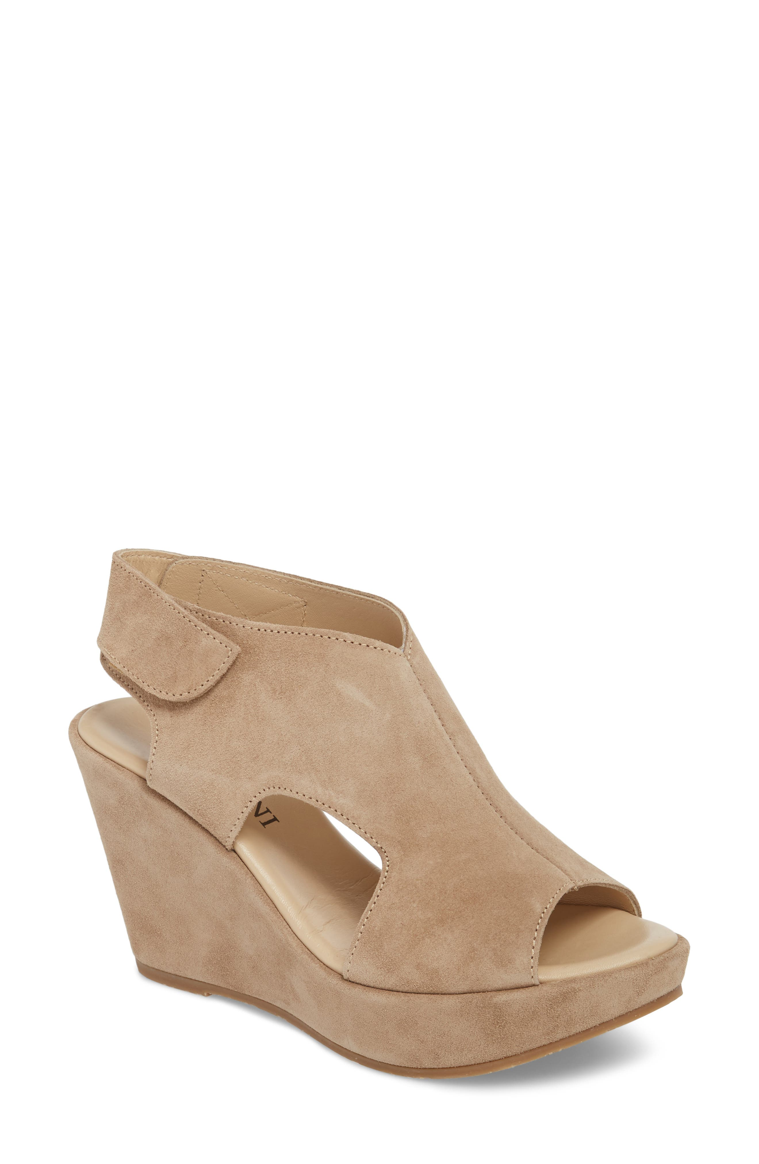 Reed Wedge Sandal,                         Main,                         color, Corda Taupe Suede