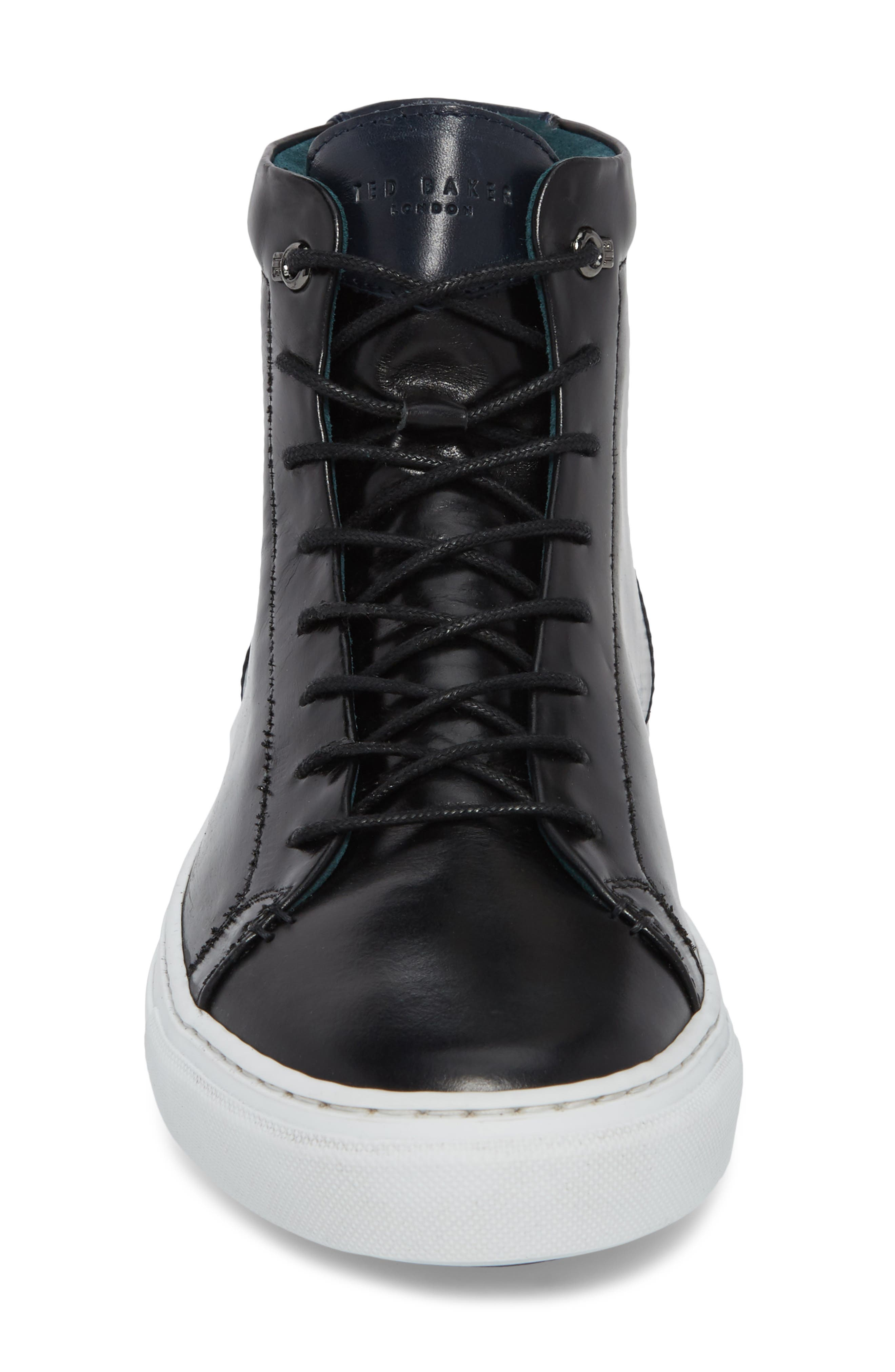 Monerkk High Top Sneaker,                             Alternate thumbnail 4, color,                             Black Leather
