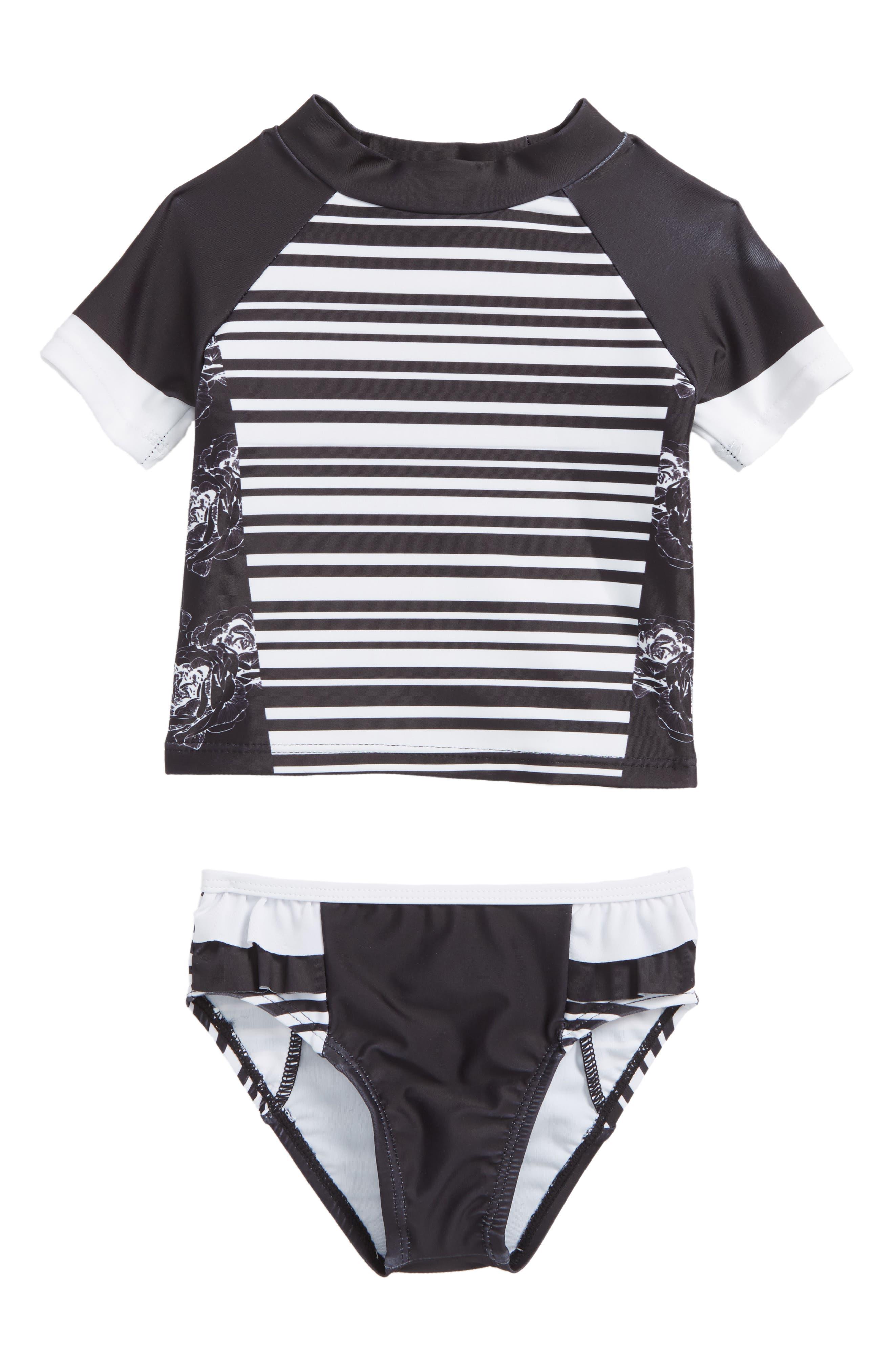 Two-Piece Rashguard Swimsuit,                             Main thumbnail 1, color,                             Black