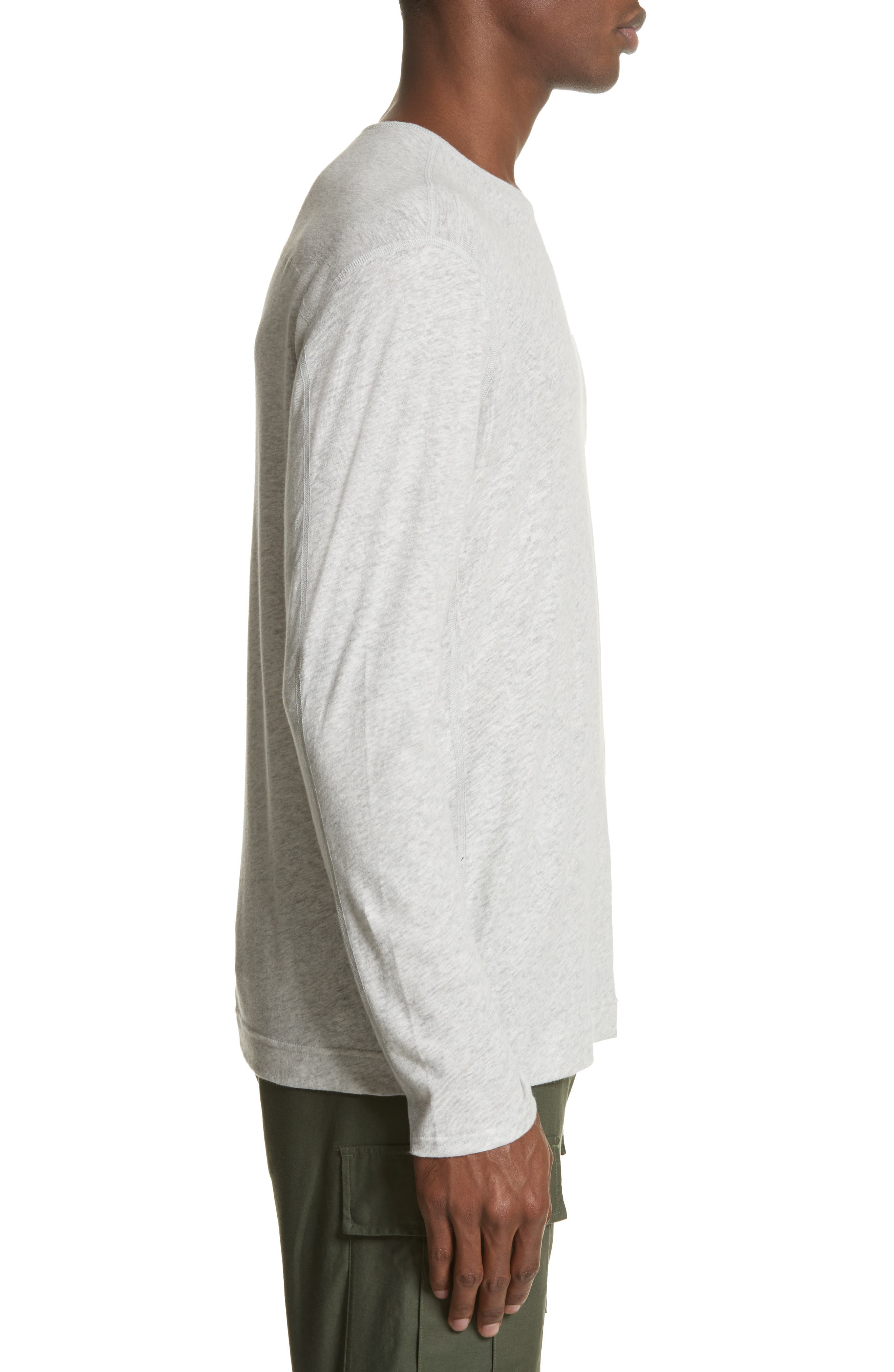Linen Blend Jersey Long Sleeve T-Shirt,                             Alternate thumbnail 5, color,                             Natural
