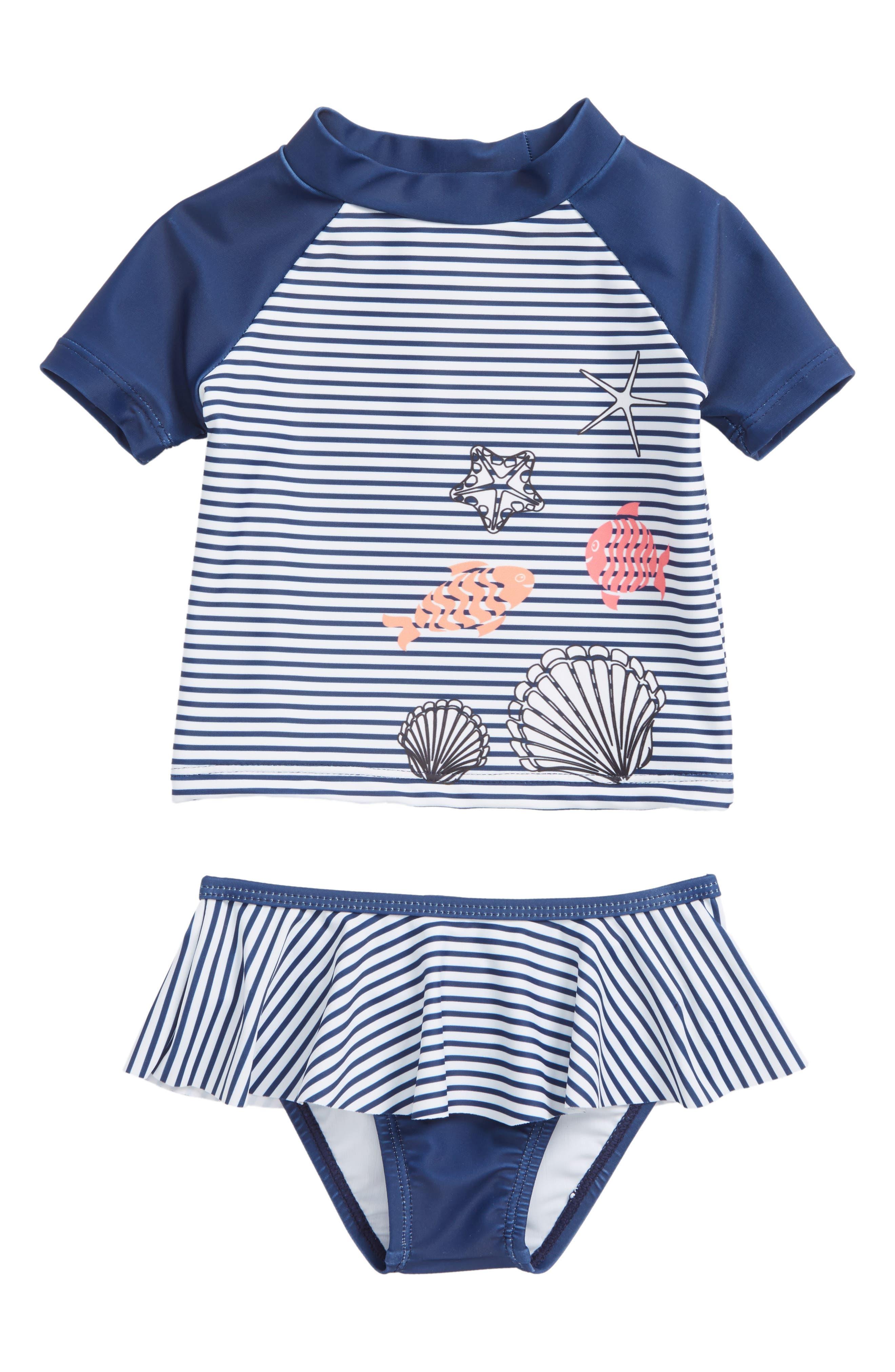 Skirted Two-Piece Rashguard Swimsuit,                         Main,                         color, Navy