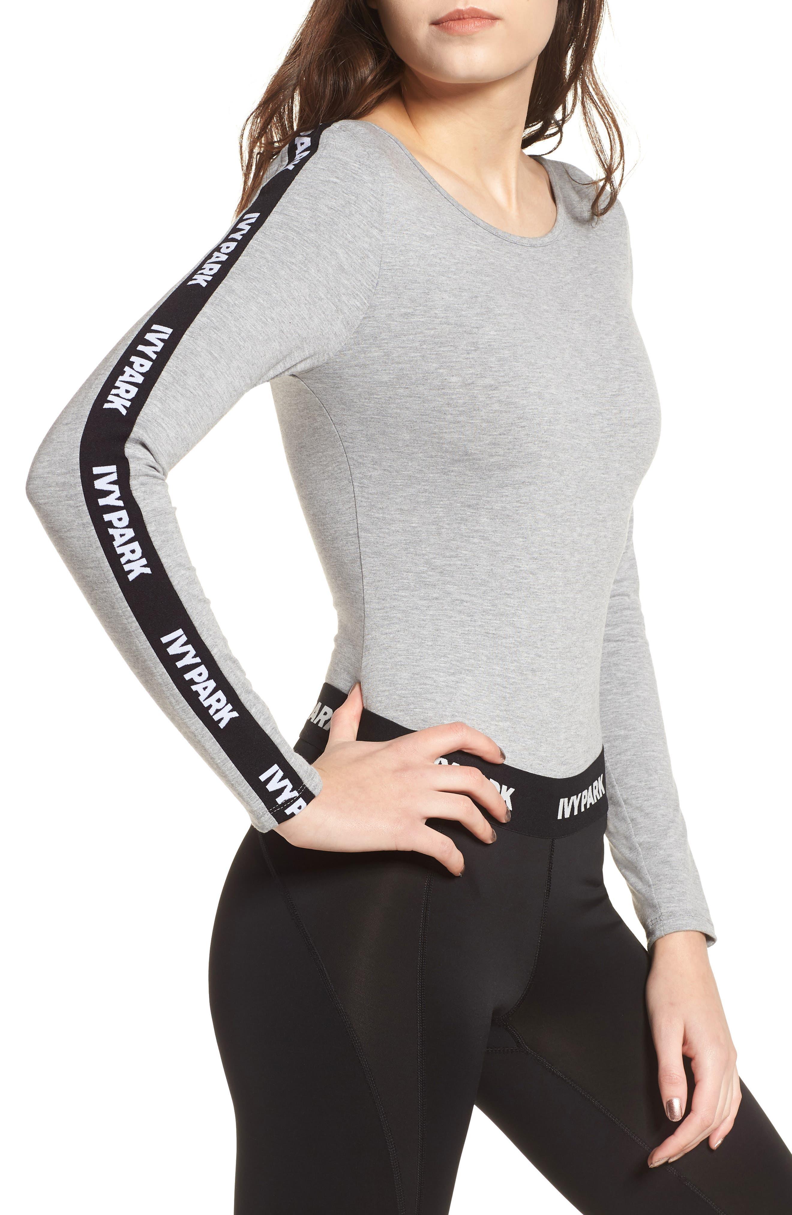 Logo Stripe Sleeve Bodysuit,                         Main,                         color, Grey Marl