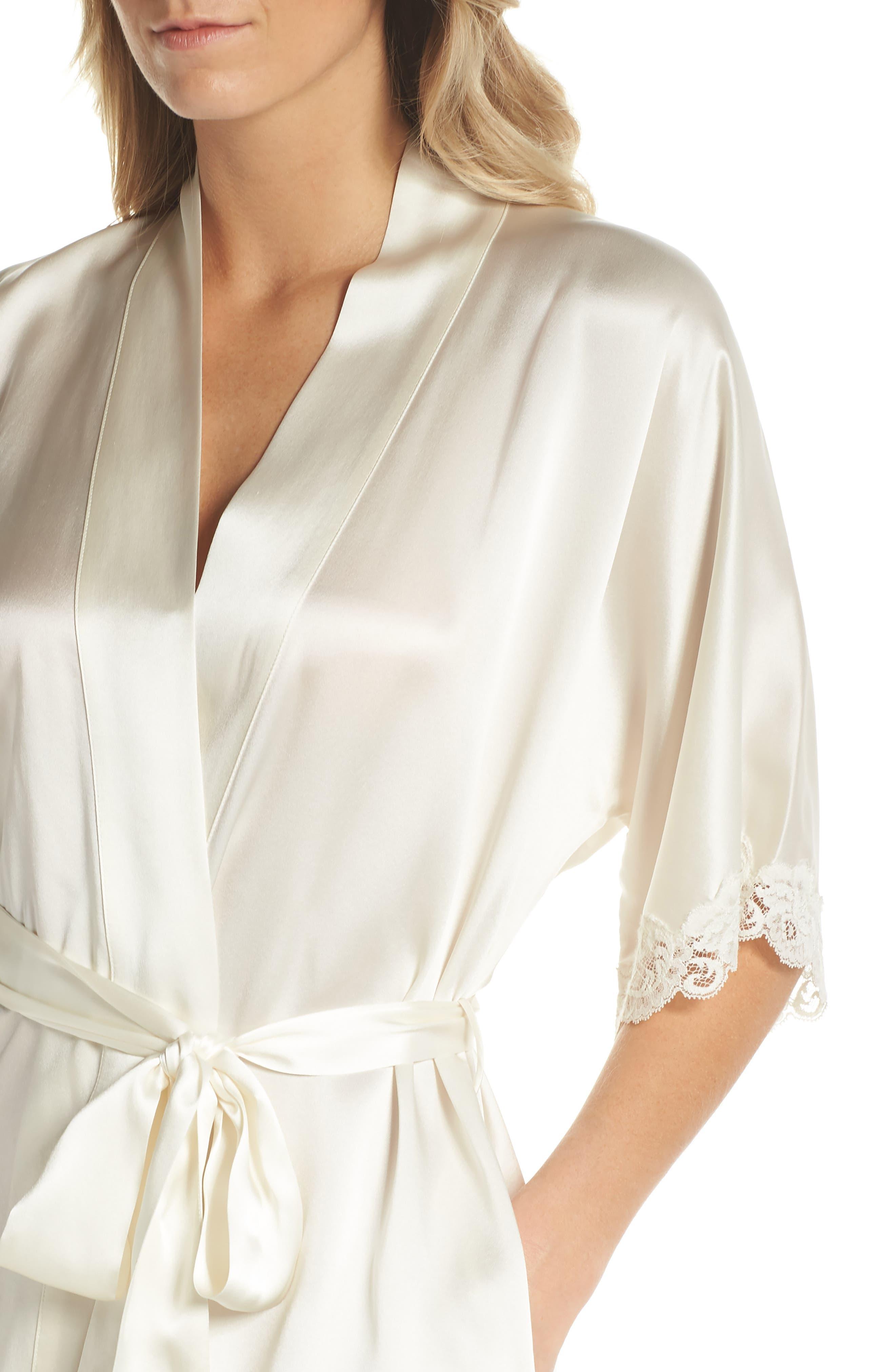Christine Boudoir Silk Robe,                             Alternate thumbnail 5, color,                             Pearl / Pearl