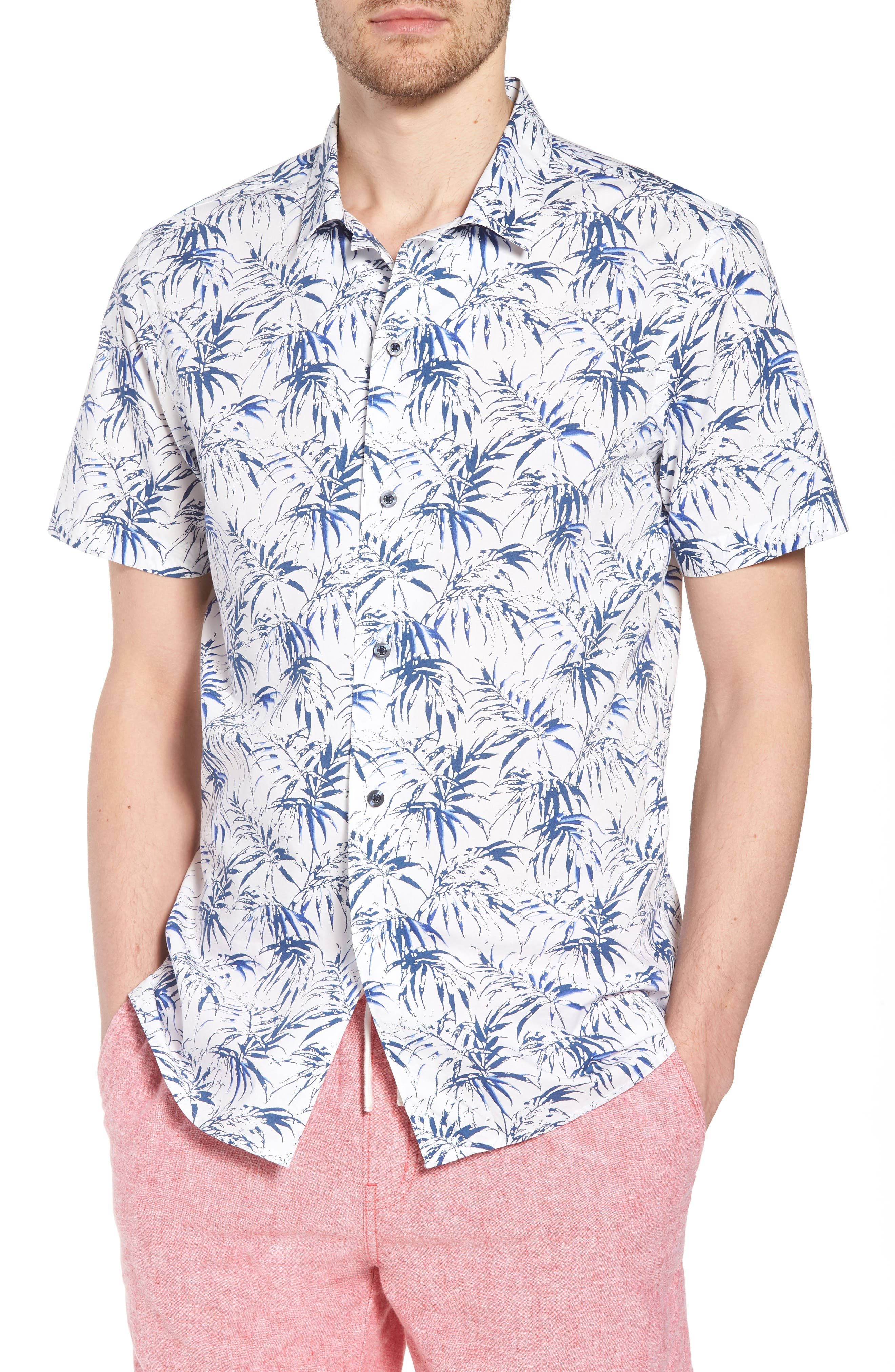 Trim Fit Palm Print Camp Shirt,                         Main,                         color, White Navy Stamped Palms