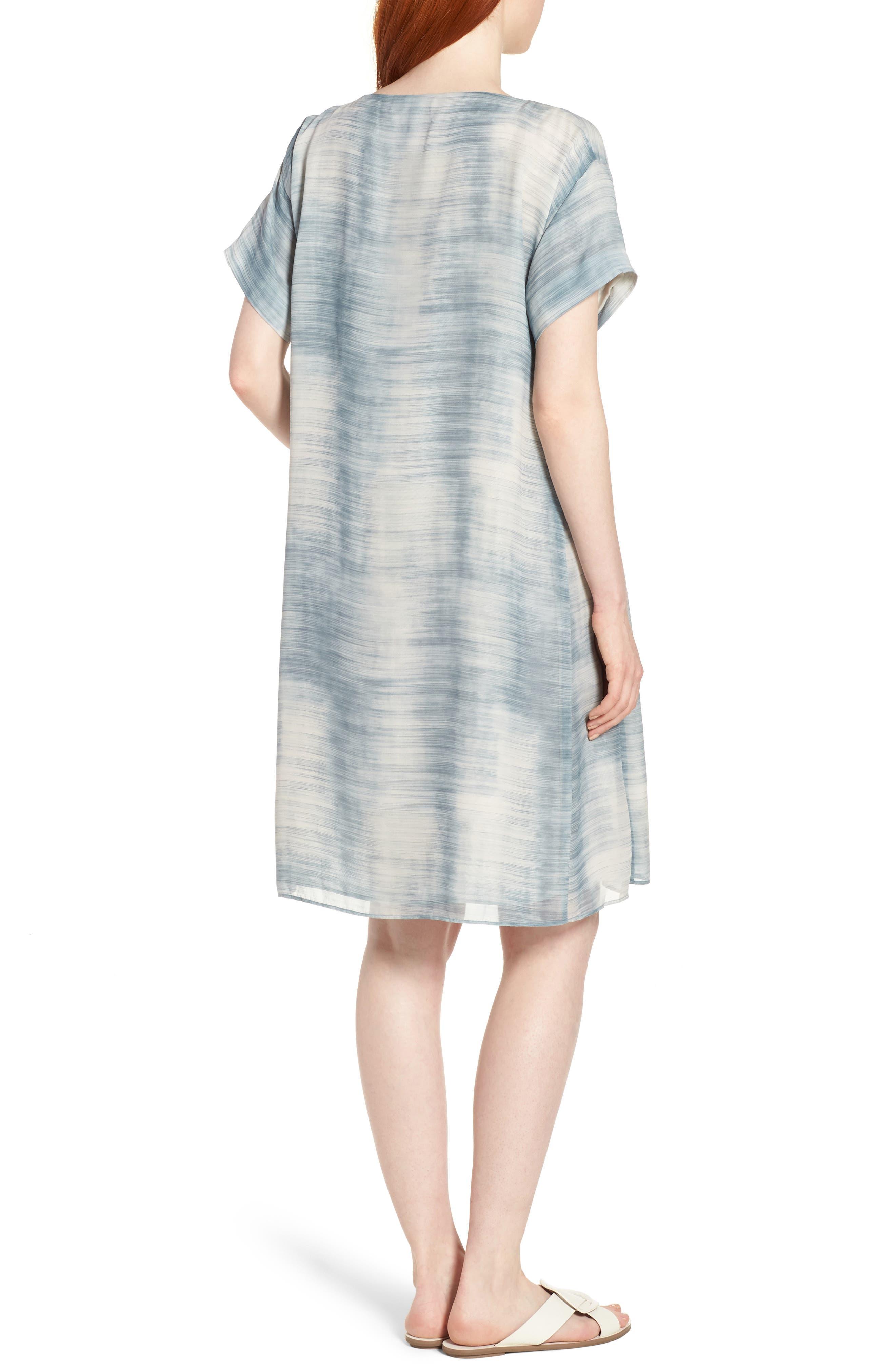Bateau Neck Silk Shift Dress,                             Alternate thumbnail 2, color,                             Blue Steel