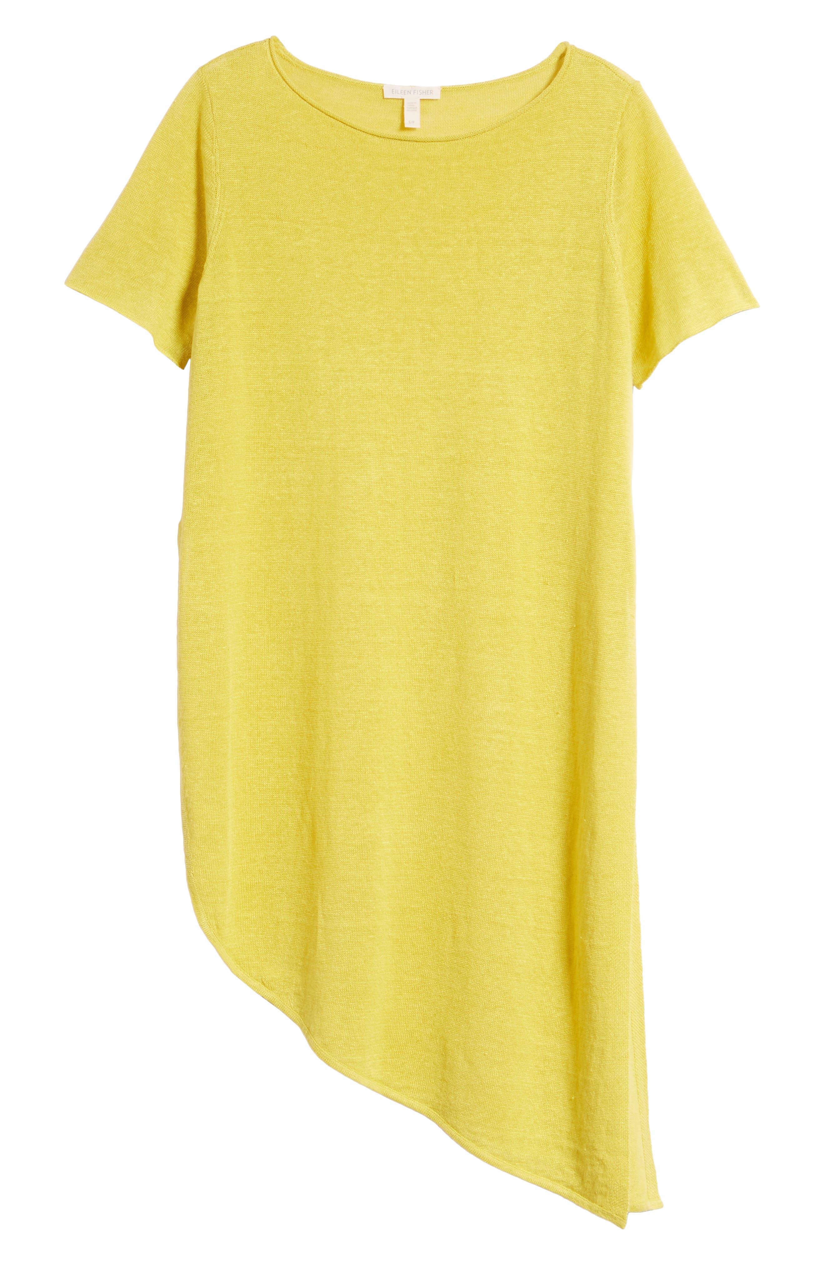 Asymmetrical Organic Linen Tunic,                             Alternate thumbnail 7, color,                             Yarrow