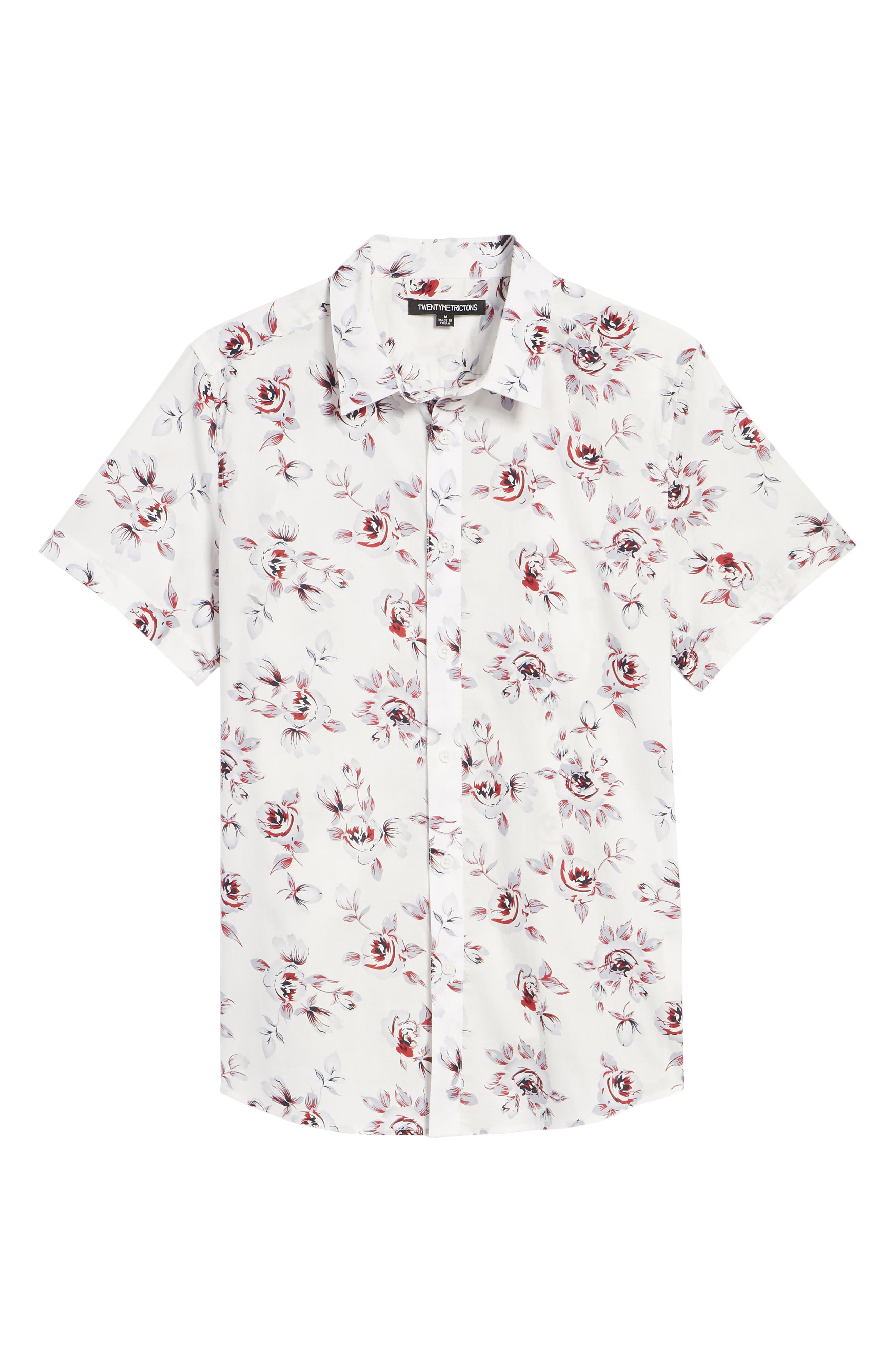 Trim Fit Print Woven Short Sleeve Shirt,                             Alternate thumbnail 6, color,                             White Red Rose