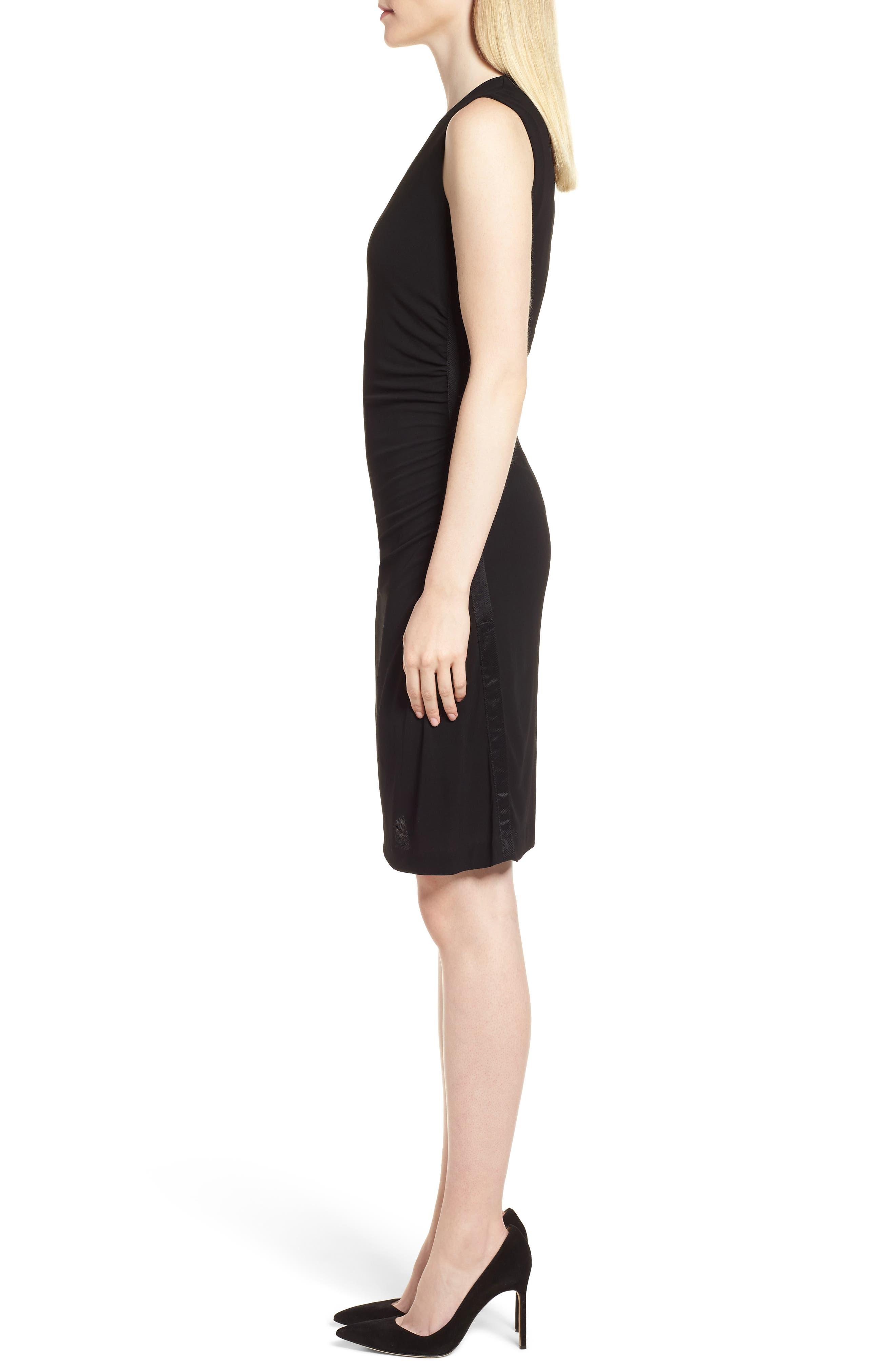 Erela Ruched Sheath Dress,                             Alternate thumbnail 3, color,                             Black