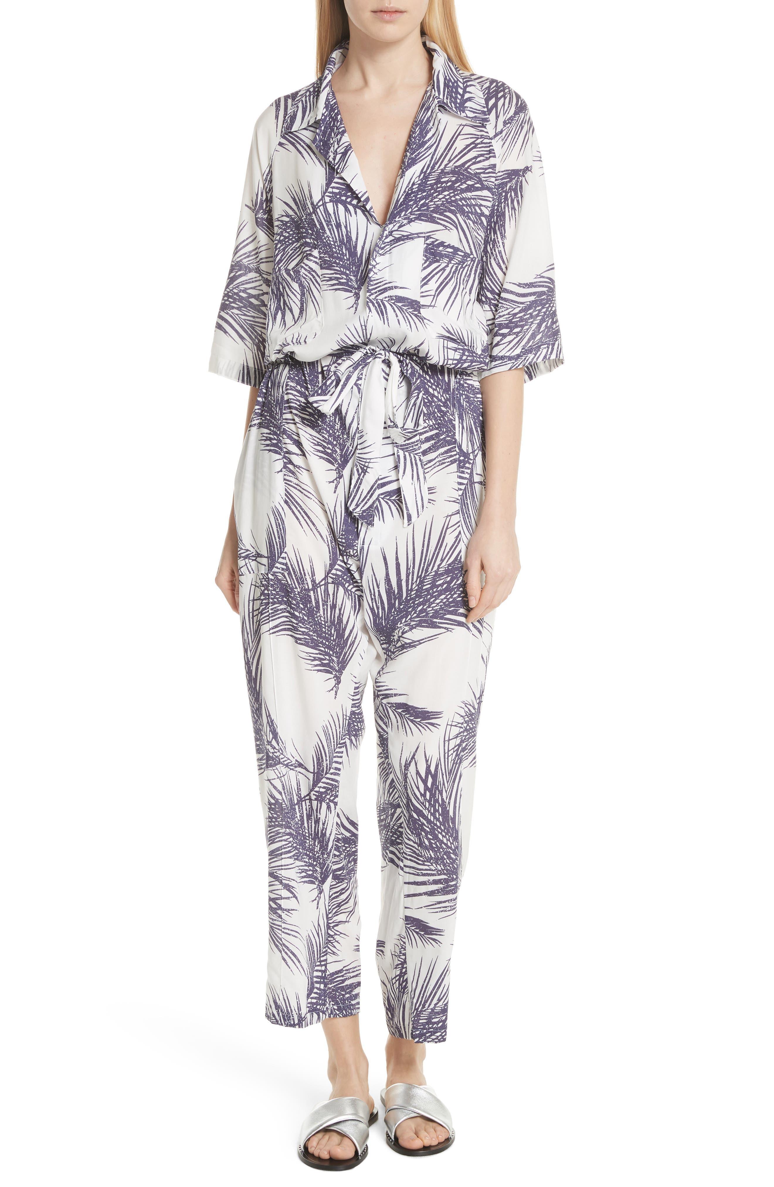 Apres Beach Print Jumpsuit,                         Main,                         color, White/ Dark Purple