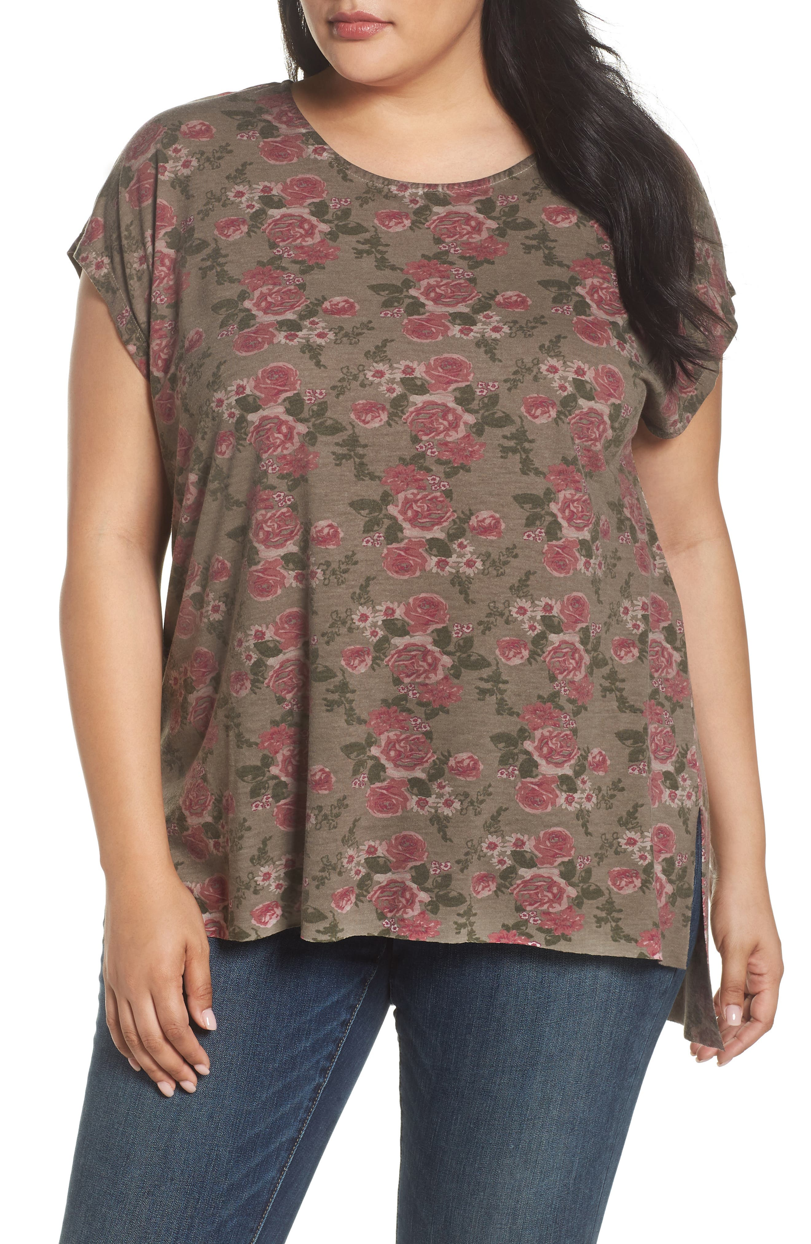 Dantelle High/Low Oil Dye Floral Top (Plus Size)
