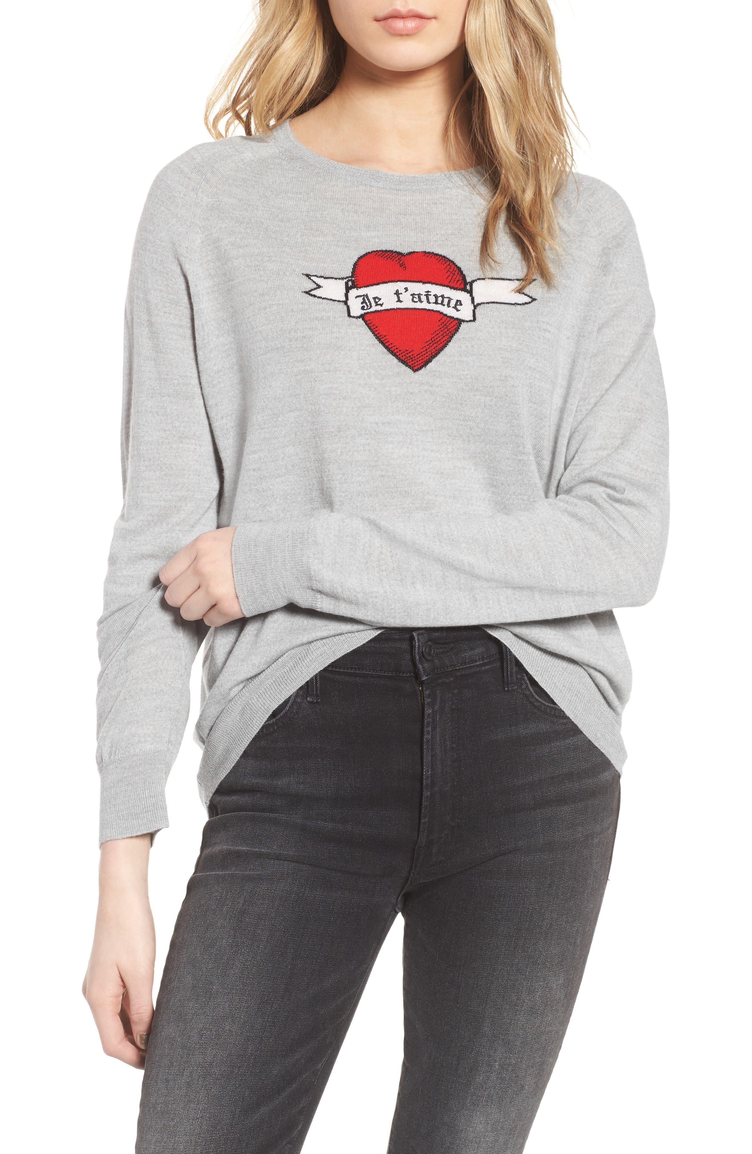 Rime Bis Merino Wool Sweater,                             Main thumbnail 1, color,                             Grey
