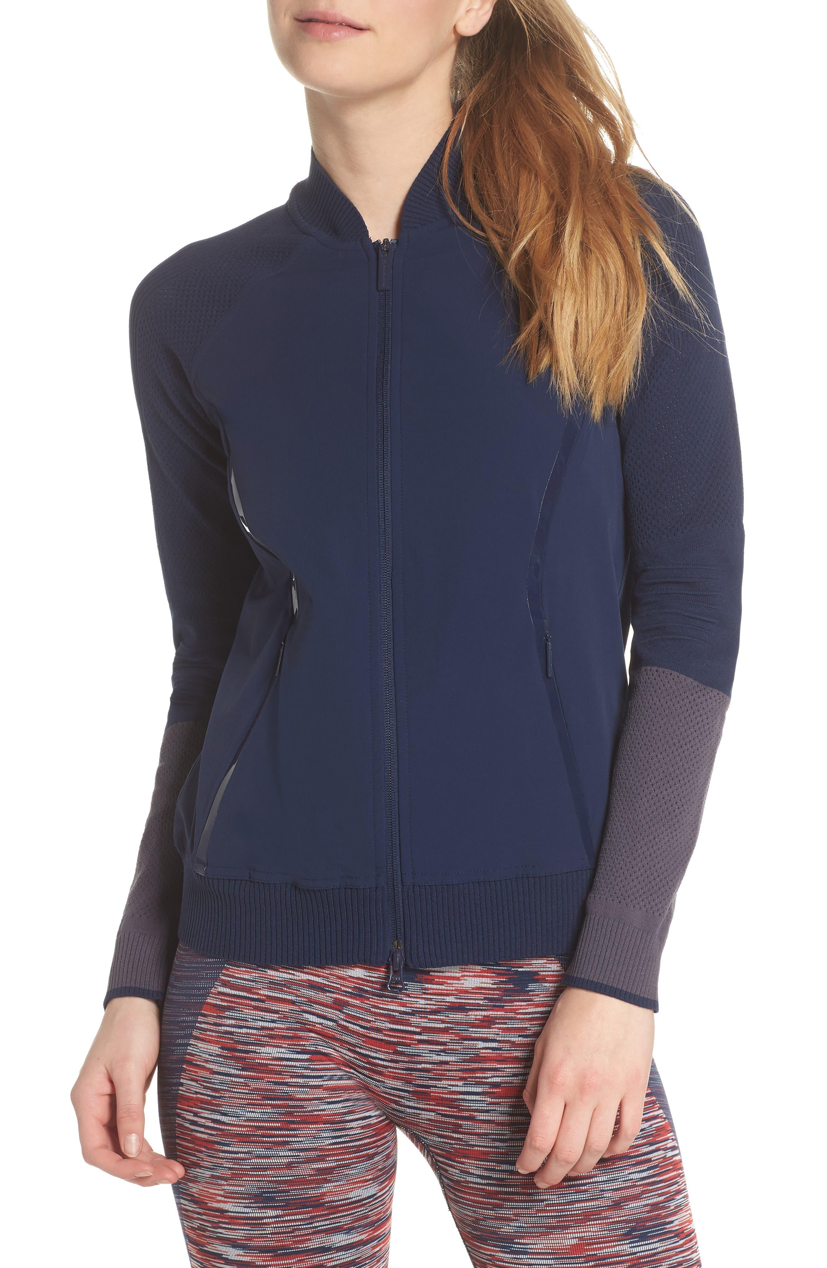 Run Ultra Knit & Woven Jacket,                             Main thumbnail 1, color,                             Collegiate Navy