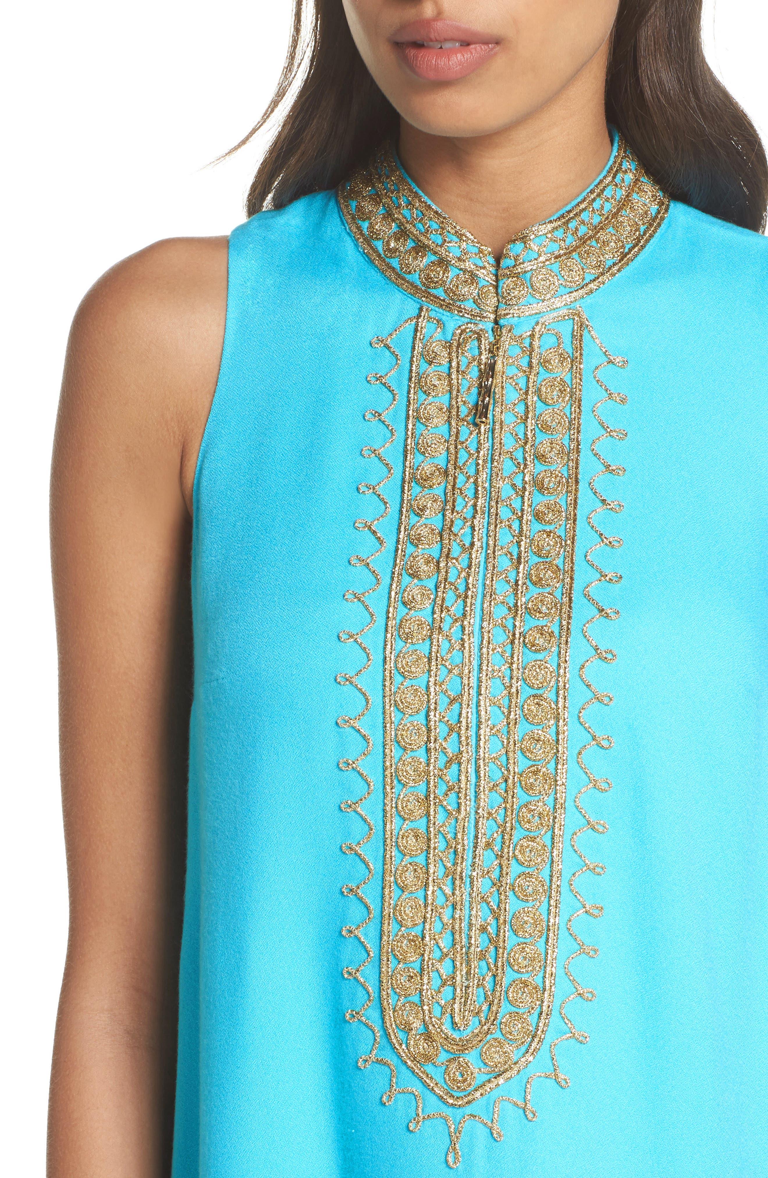 Jane Embroidered Shift Dress,                             Alternate thumbnail 4, color,                             Blue Ibiza