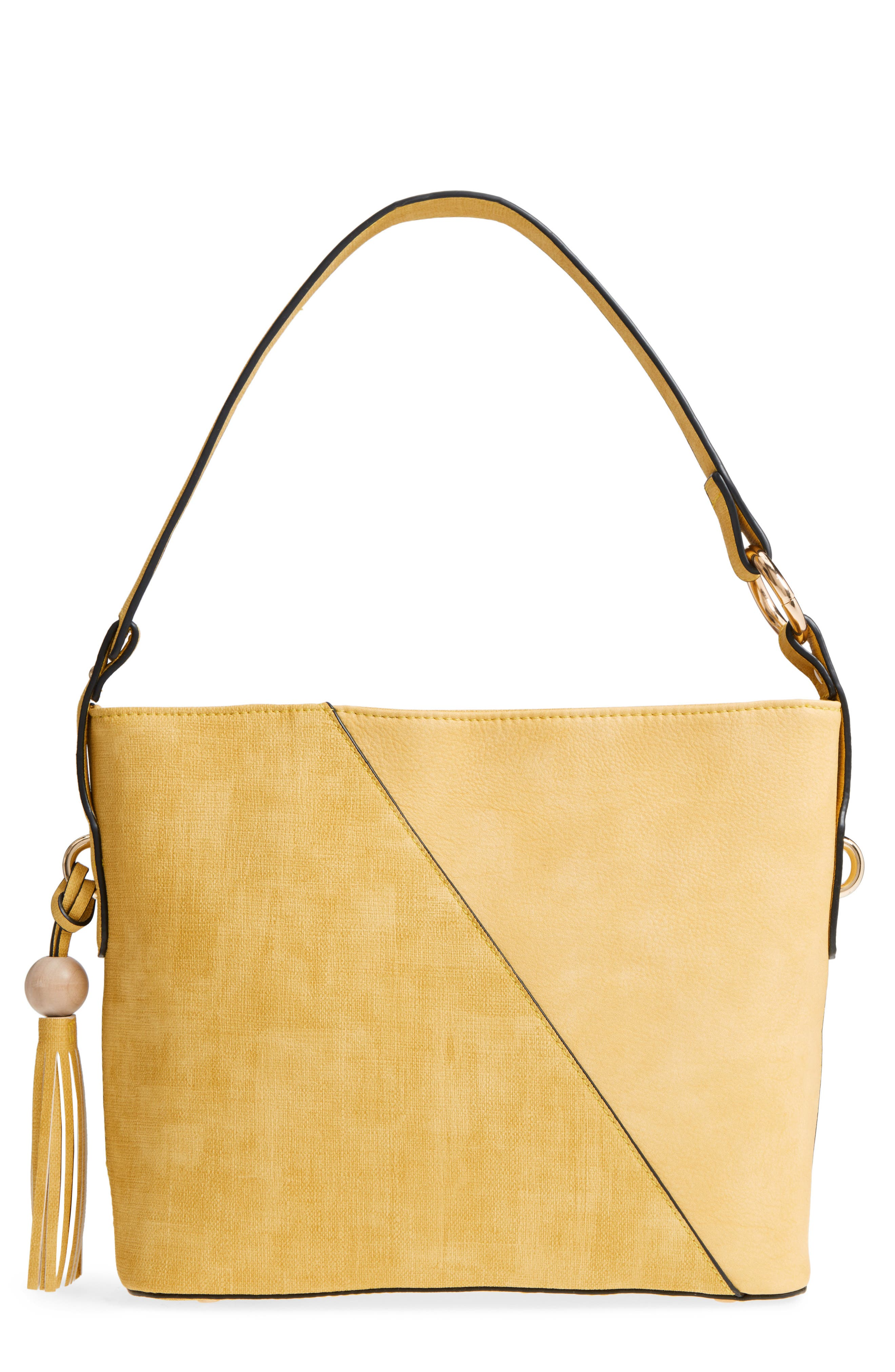 Faux Leather Tote,                             Main thumbnail 1, color,                             Yellow