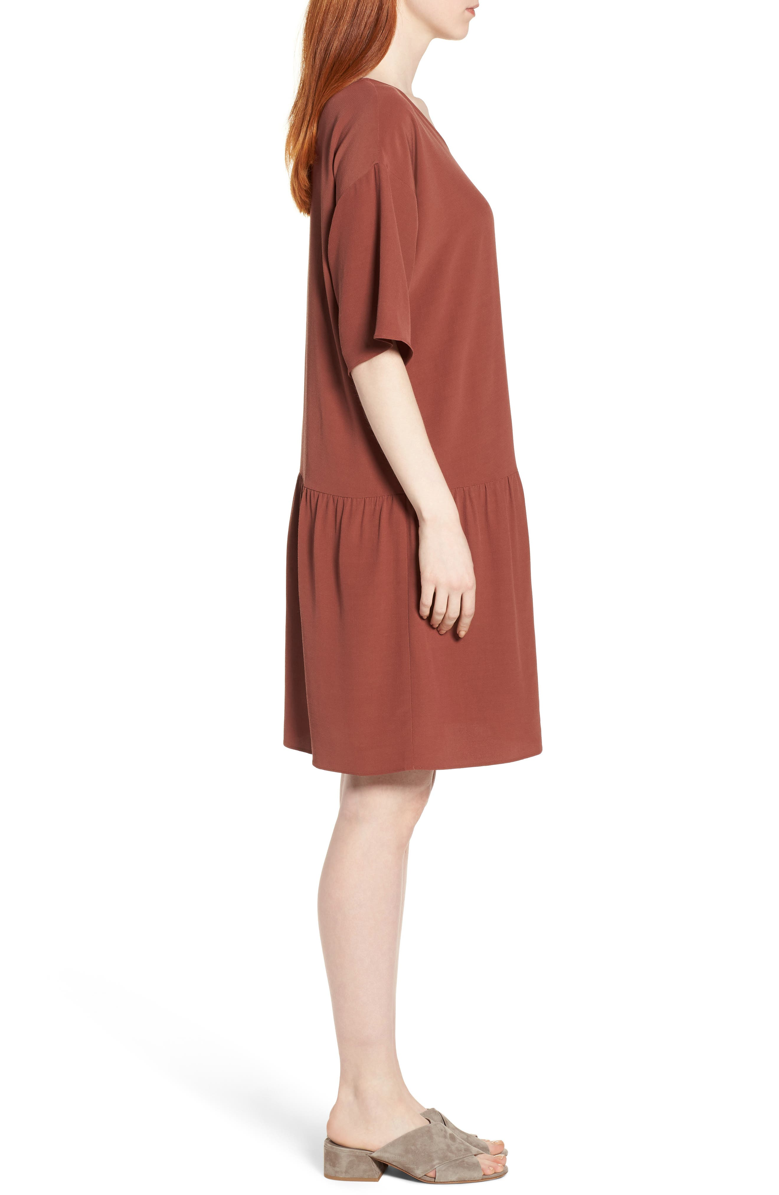 Drop Waist Tencel<sup>®</sup> Lyocell Blend Dress,                             Alternate thumbnail 3, color,                             Russet