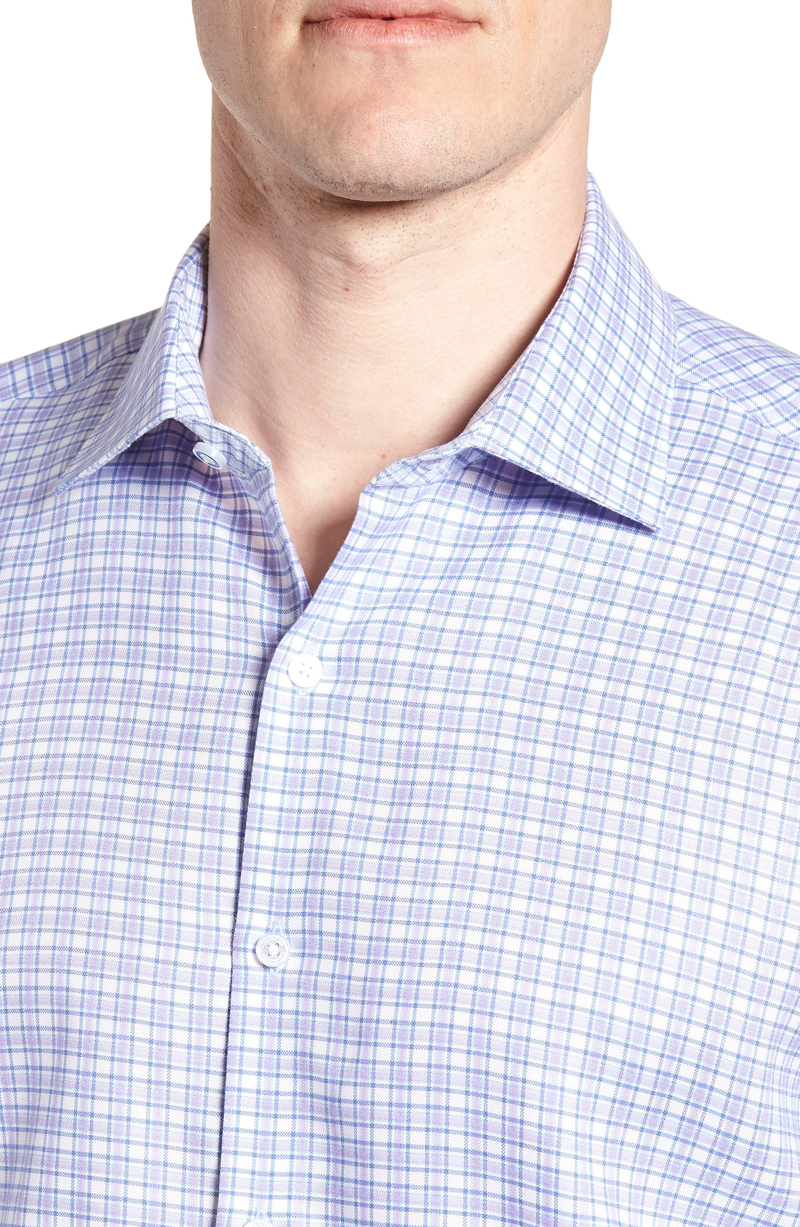 Neil Trim Fit Check Dress Shirt,                             Alternate thumbnail 2, color,                             Lavender