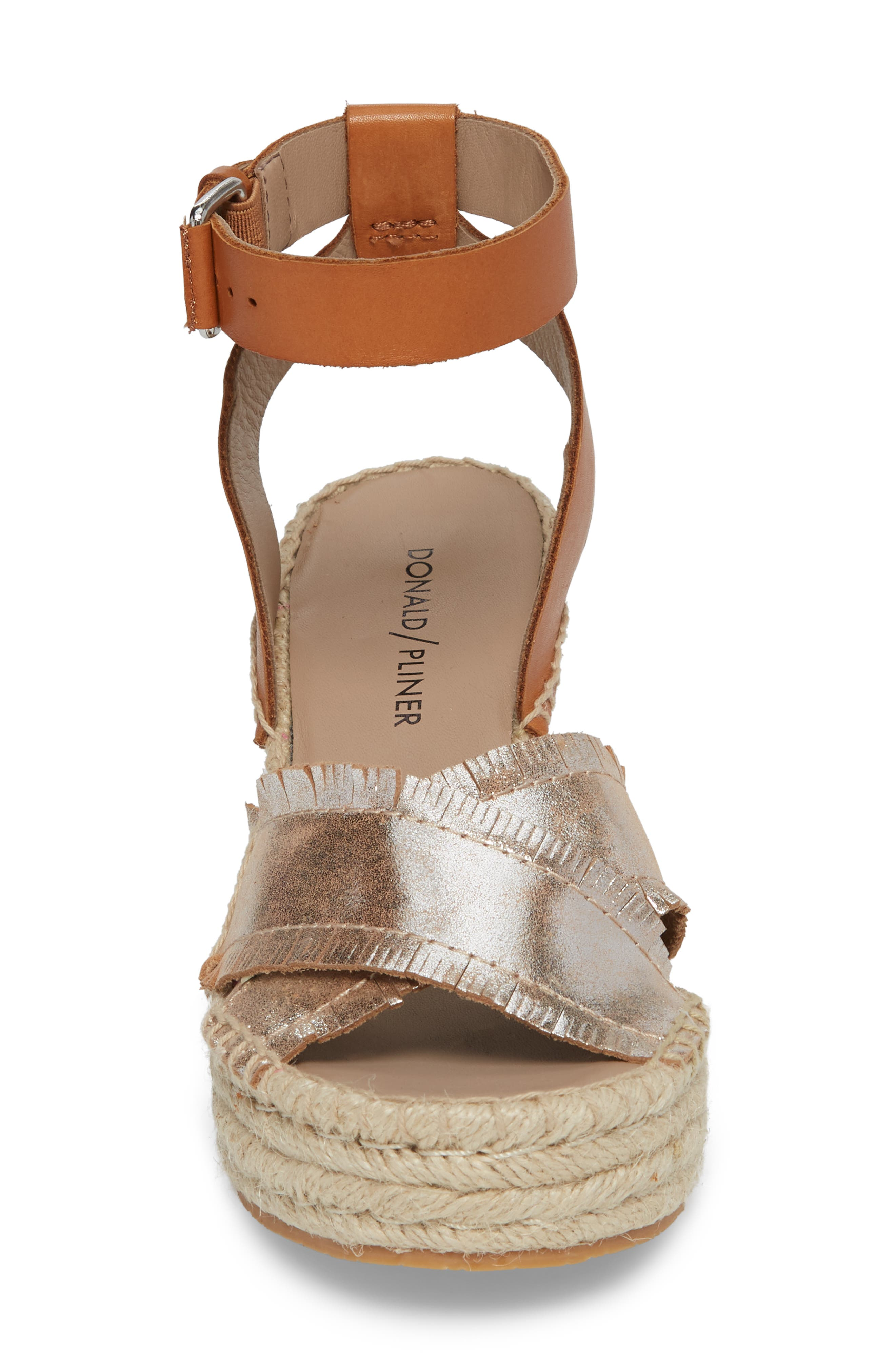 Ines Espadrille Wedge Sandal,                             Alternate thumbnail 4, color,                             Silver Leather