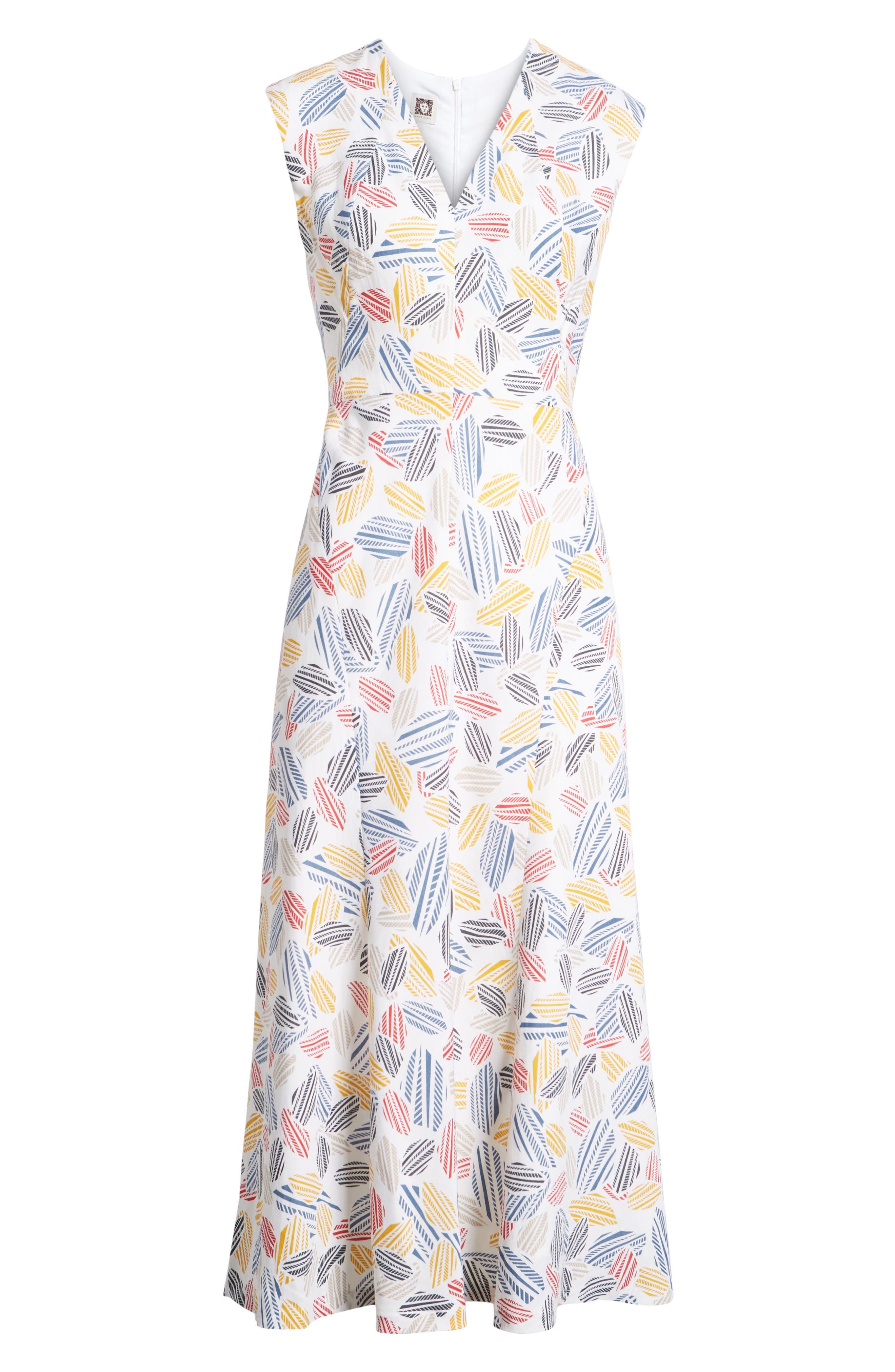 Print Midi Dress,                             Alternate thumbnail 7, color,                             Optic White/ Tomato Combo