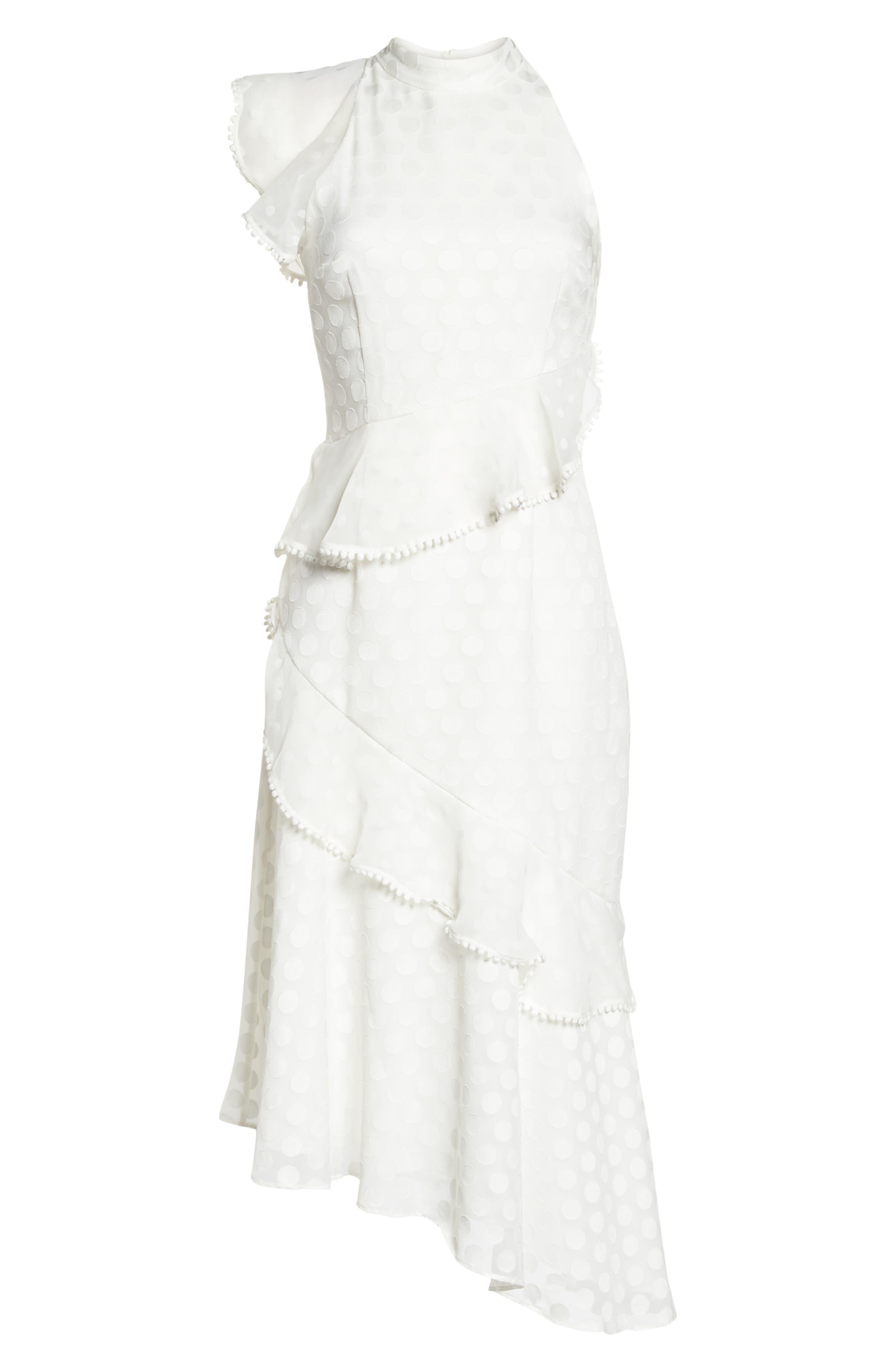 See You Now Polka Dot Midi Dress,                             Alternate thumbnail 6, color,                             Ivory