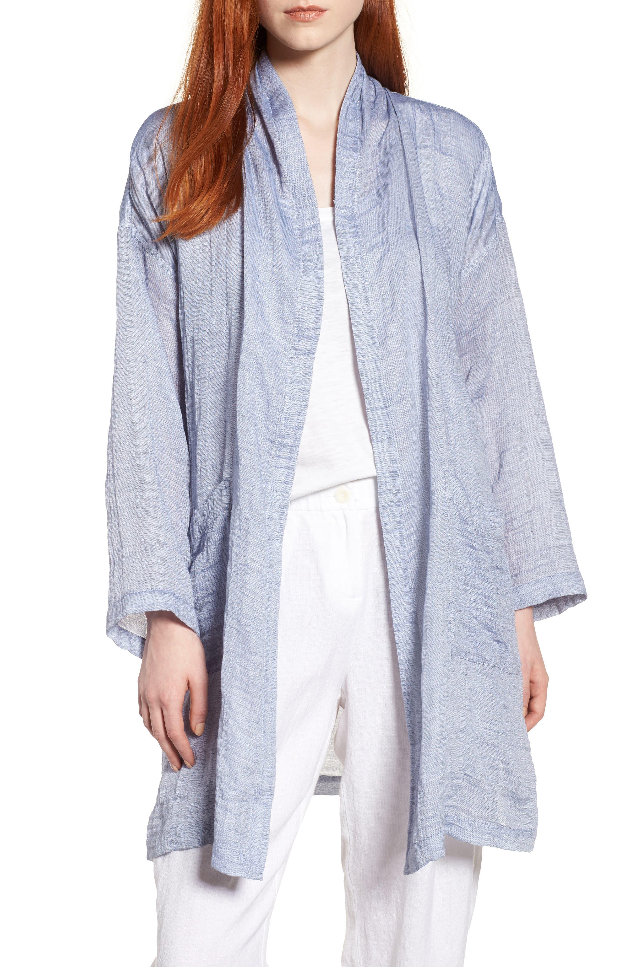 Linen Blend Kimono Jacket,                             Main thumbnail 1, color,                             Chambray