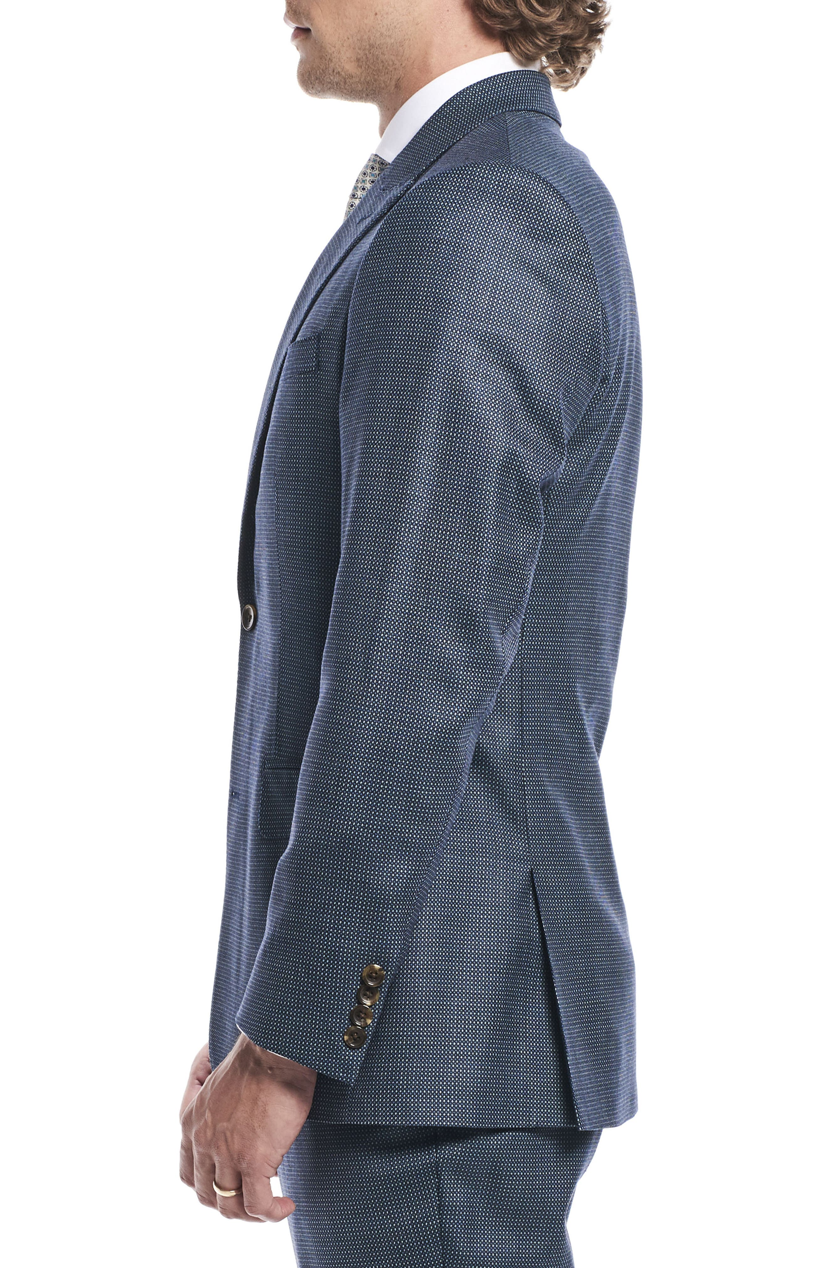 by Ilaria Urbinati Finch Trim Fit Three-Piece Solid Wool Suit,                             Alternate thumbnail 4, color,                             Pacific Blue Dot