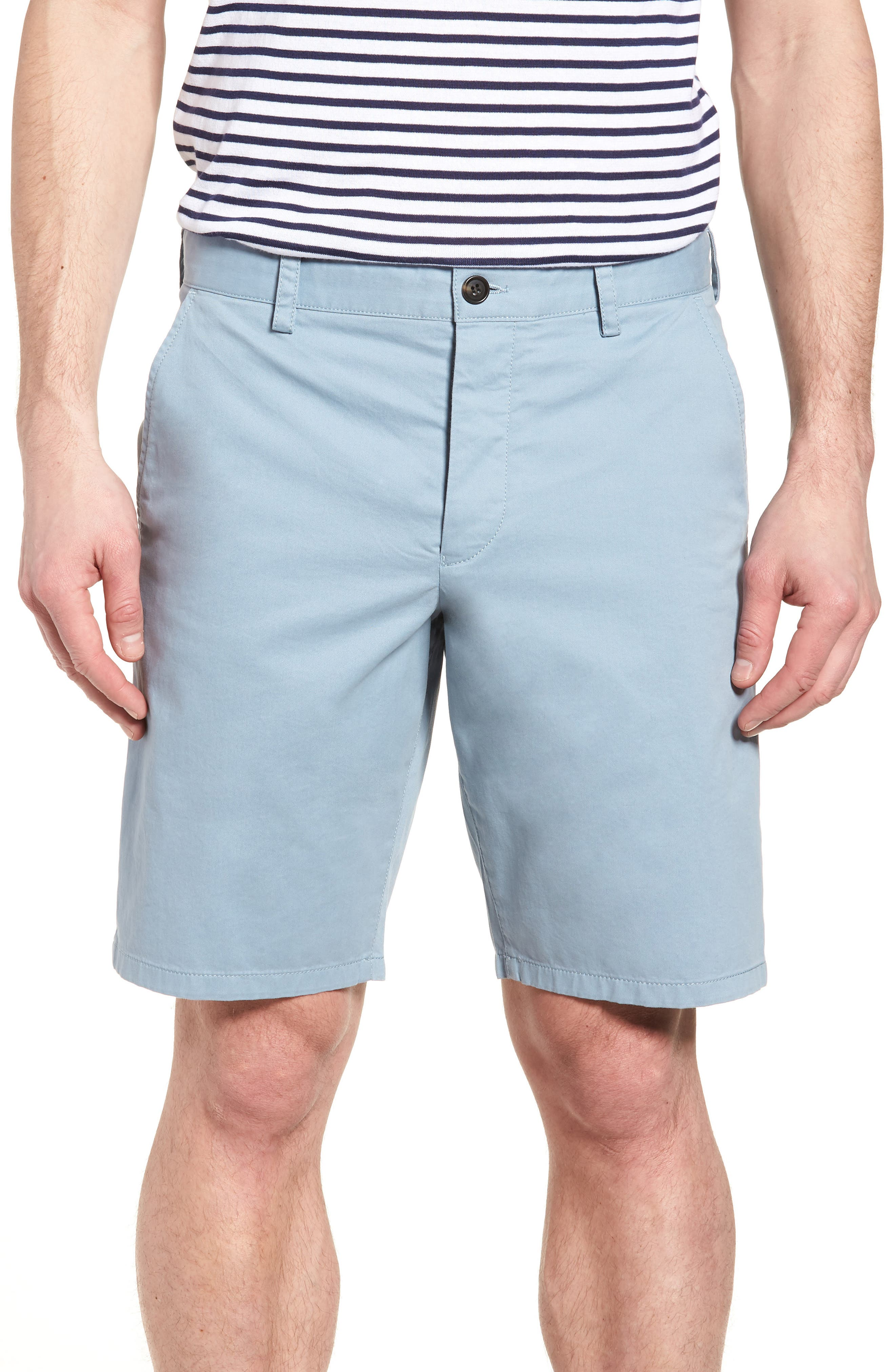 Machine Gun Stretch Cotton Shorts,                         Main,                         color, Ashley Blue