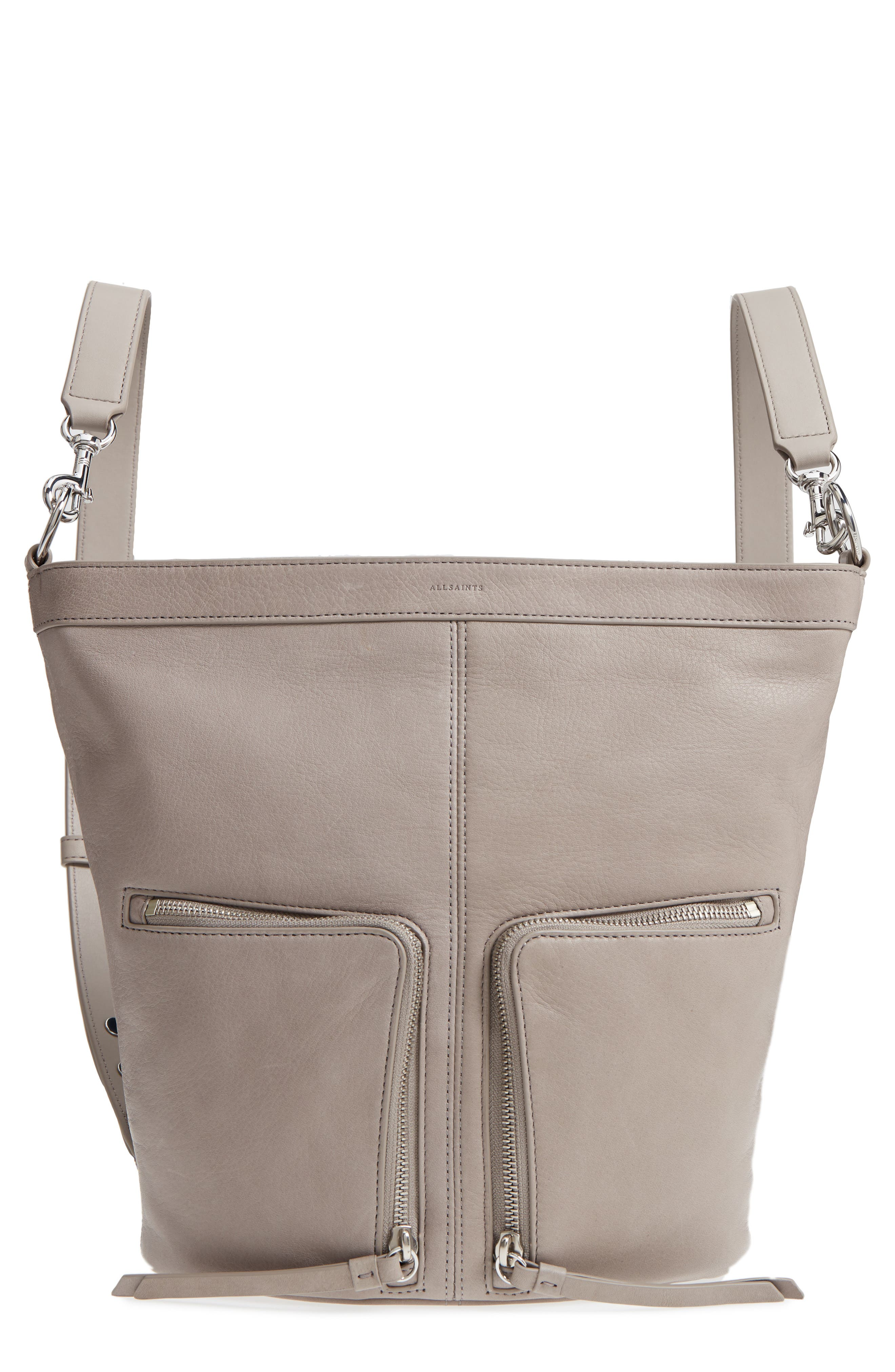 FETCH SMALL LEATHER BACKPACK - GREY