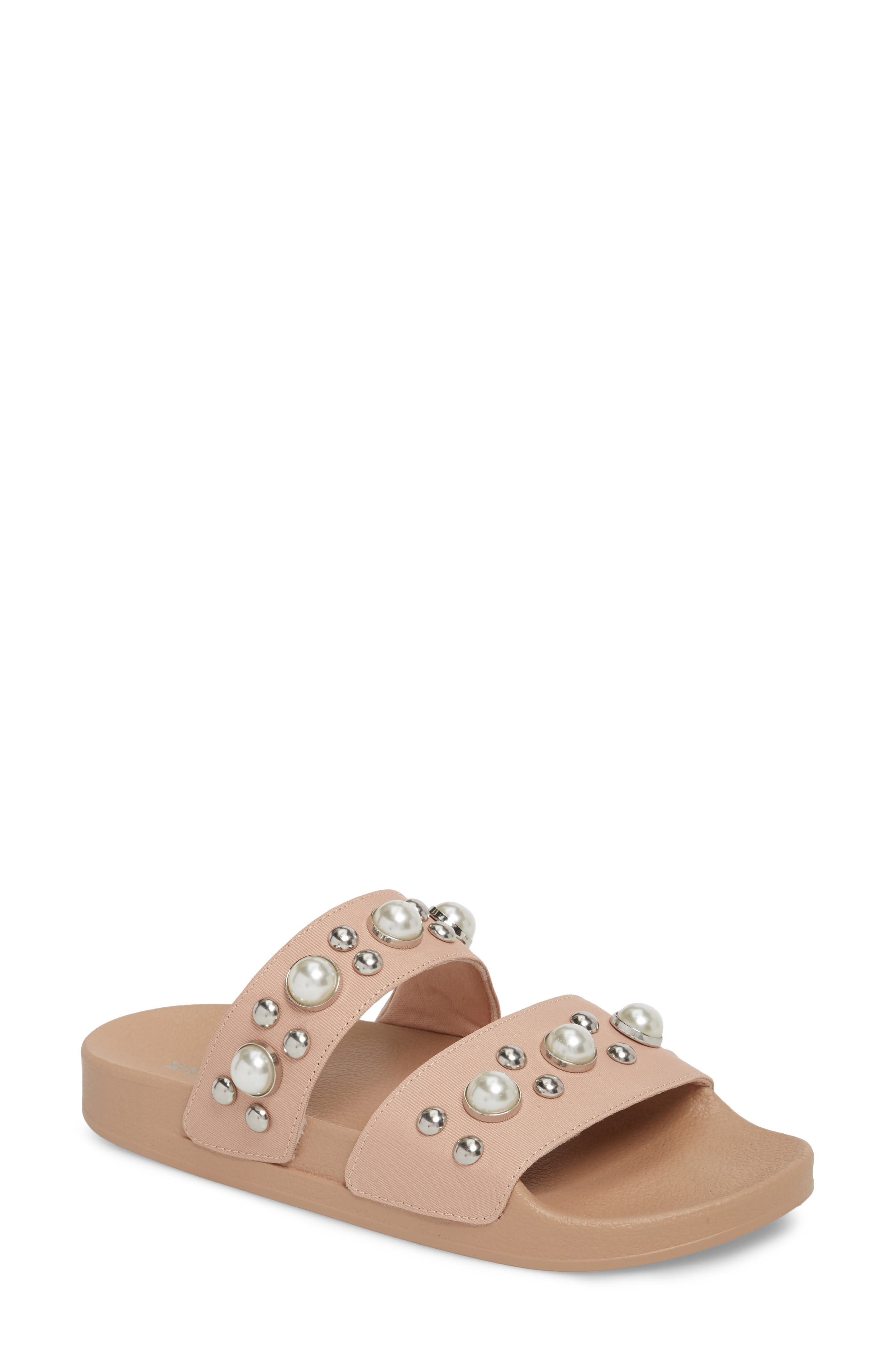 Polite Embellished Slide Sandal,                             Main thumbnail 1, color,                             Blush