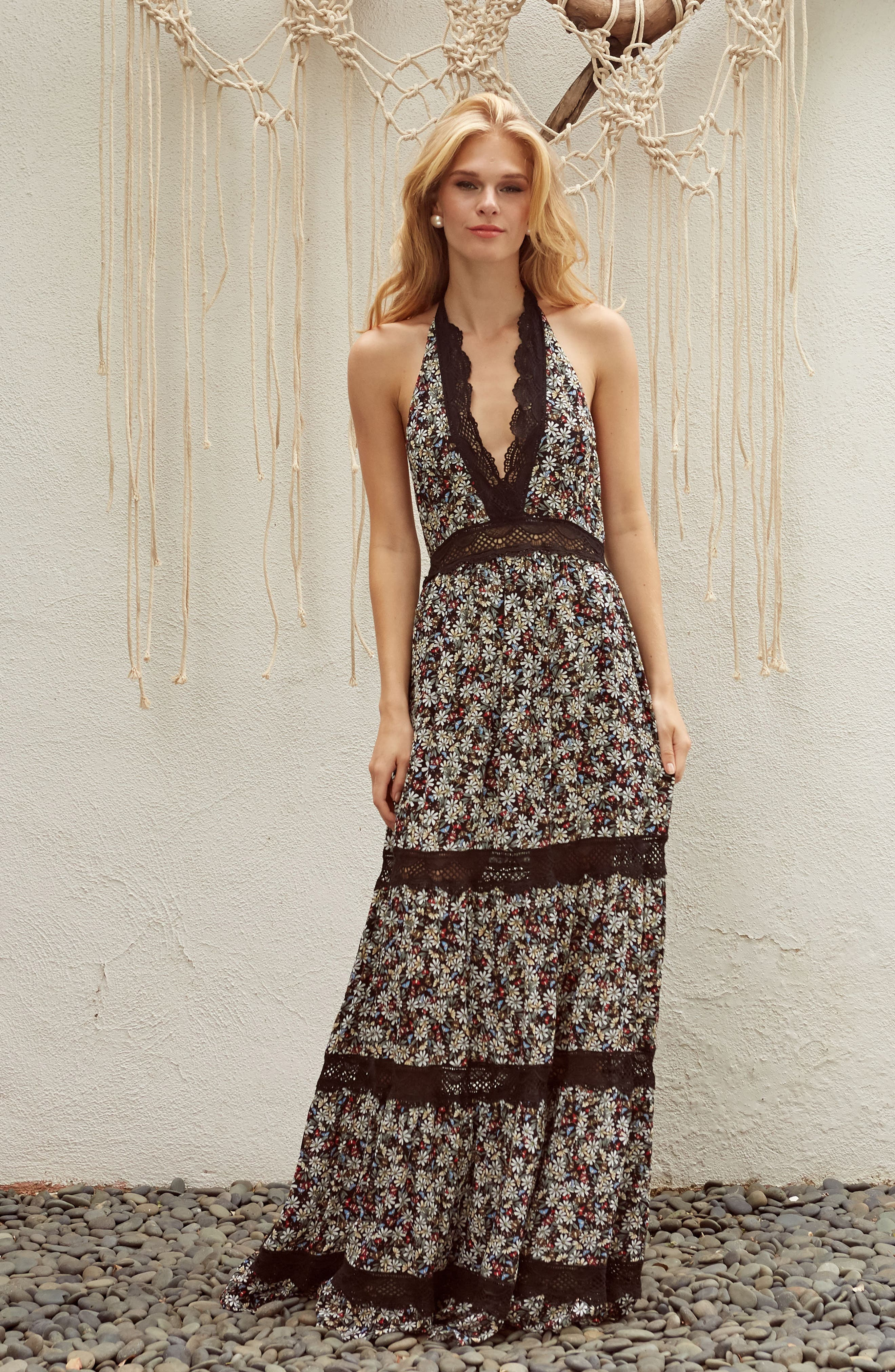 Flora Halter Neck Maxi Dress,                             Alternate thumbnail 2, color,                             Multi Black