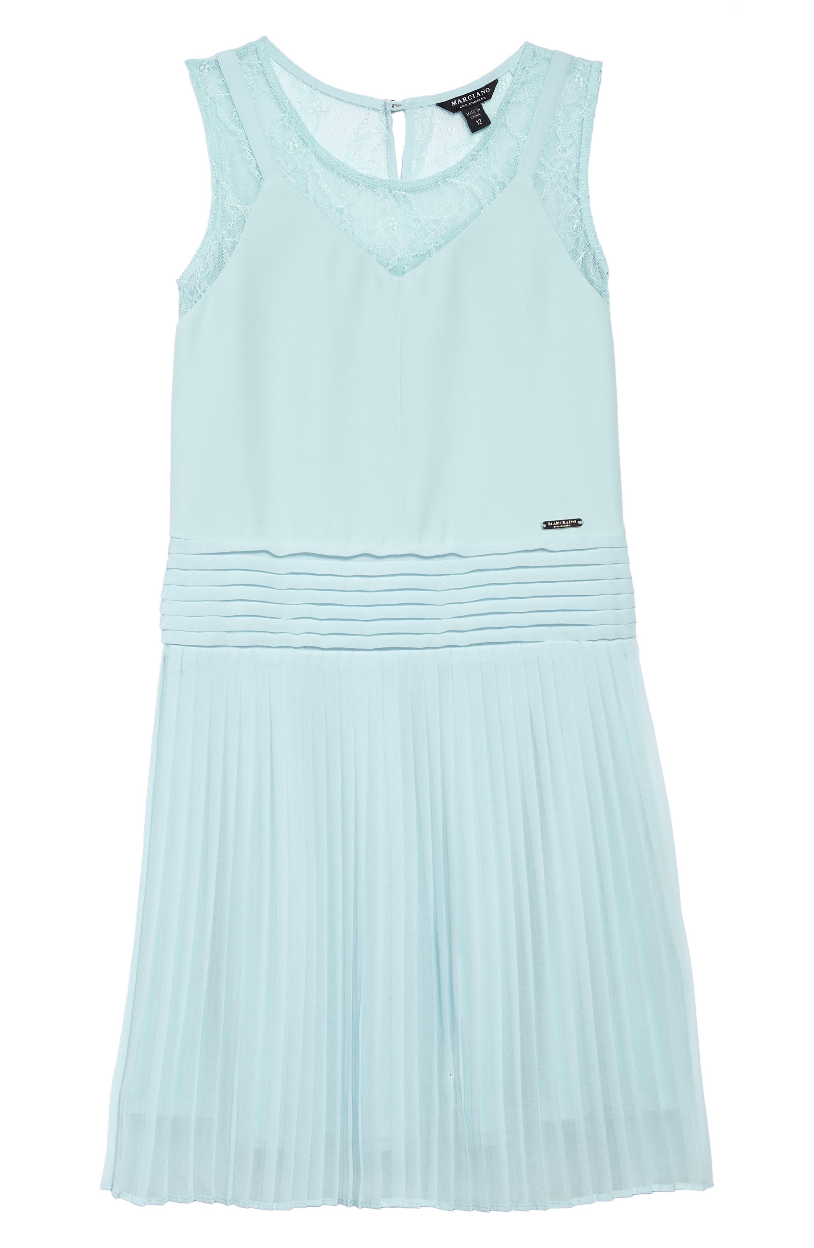 Pleated Chiffon Party Dress,                             Main thumbnail 1, color,                             Beau Blue