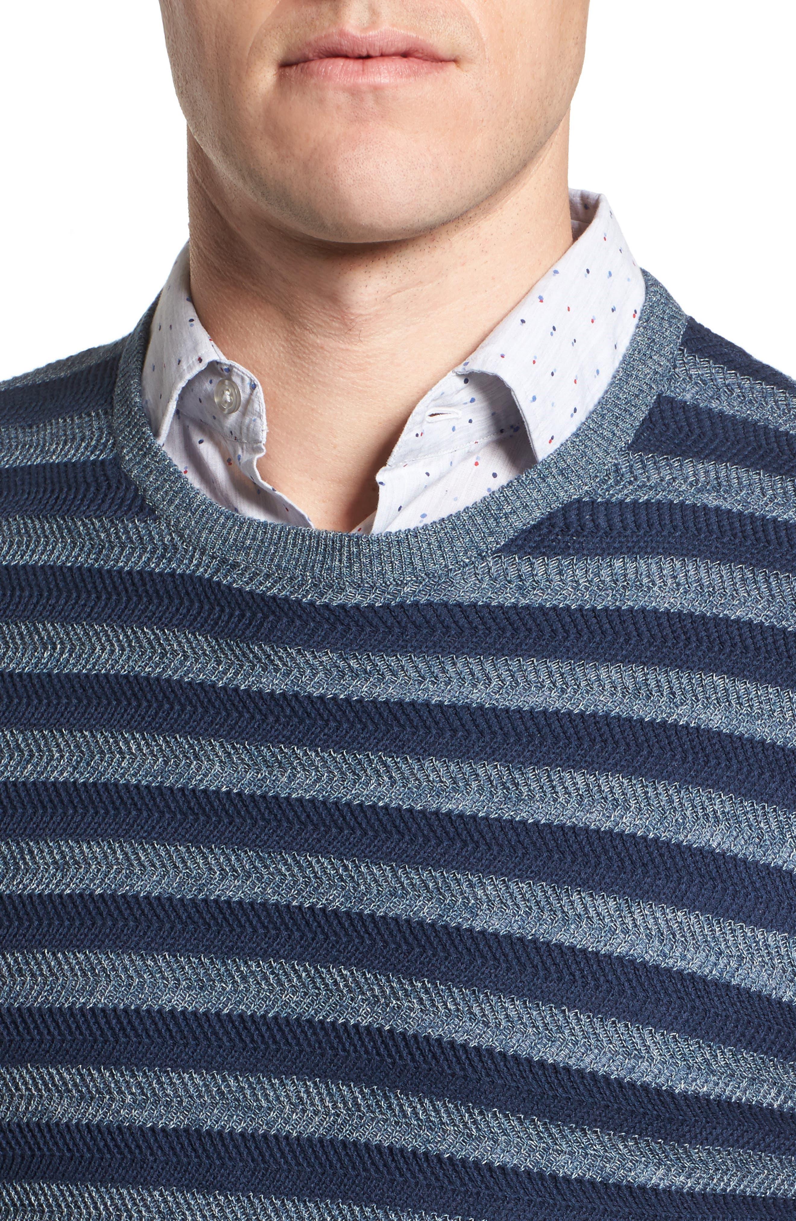 Stripe Cotton Blend Sweater,                             Alternate thumbnail 4, color,                             Navy Iris Stripe