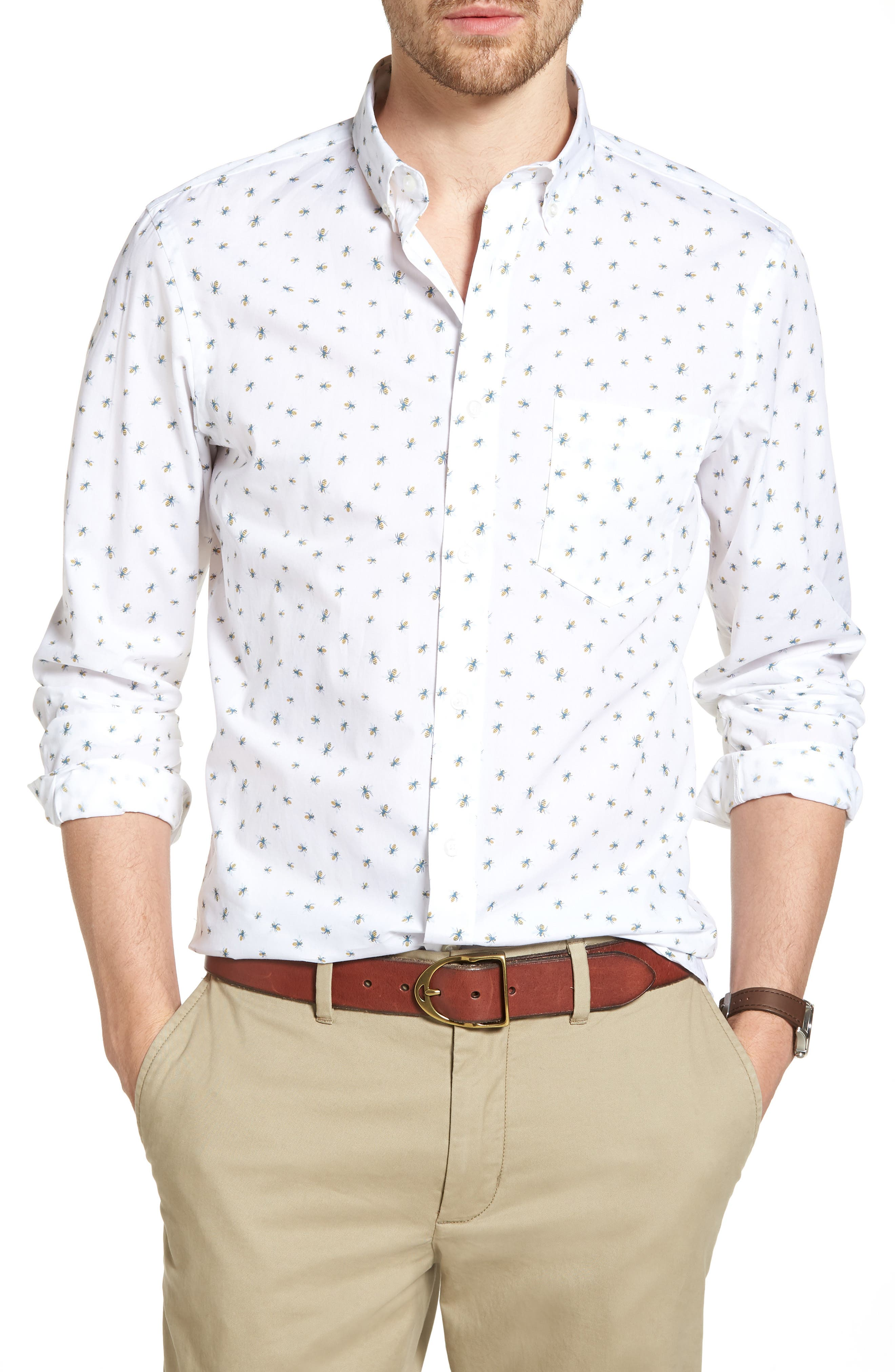 Trim Fit Bee Print Sport Shirt,                         Main,                         color, White Bumble Bees