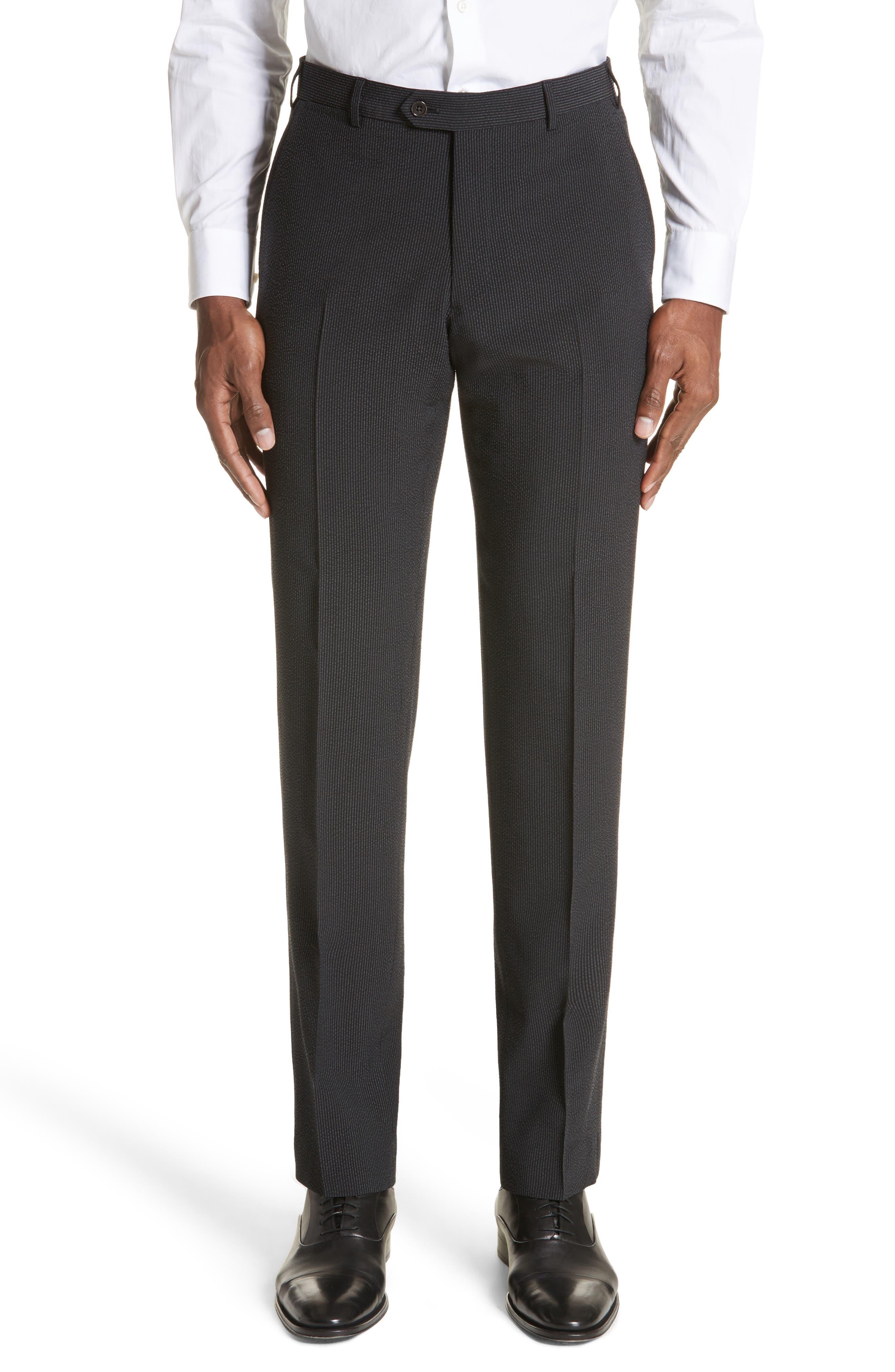 M Line Trim Fit Stretch Seersucker Wool Blend Suit,                             Alternate thumbnail 6, color,                             Grey