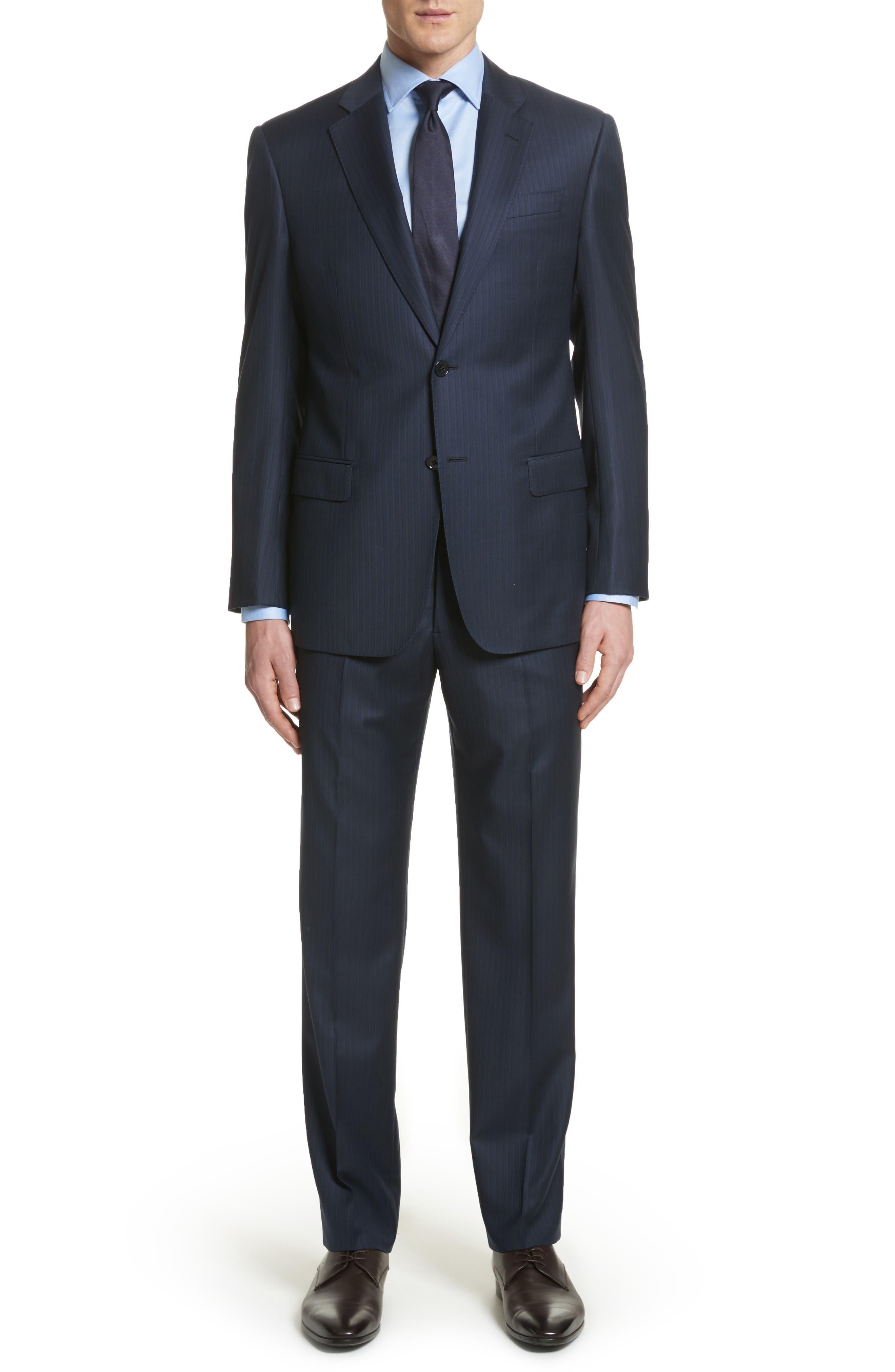 G Line Trim Fit Stripe Wool Suit,                             Main thumbnail 1, color,                             Blue