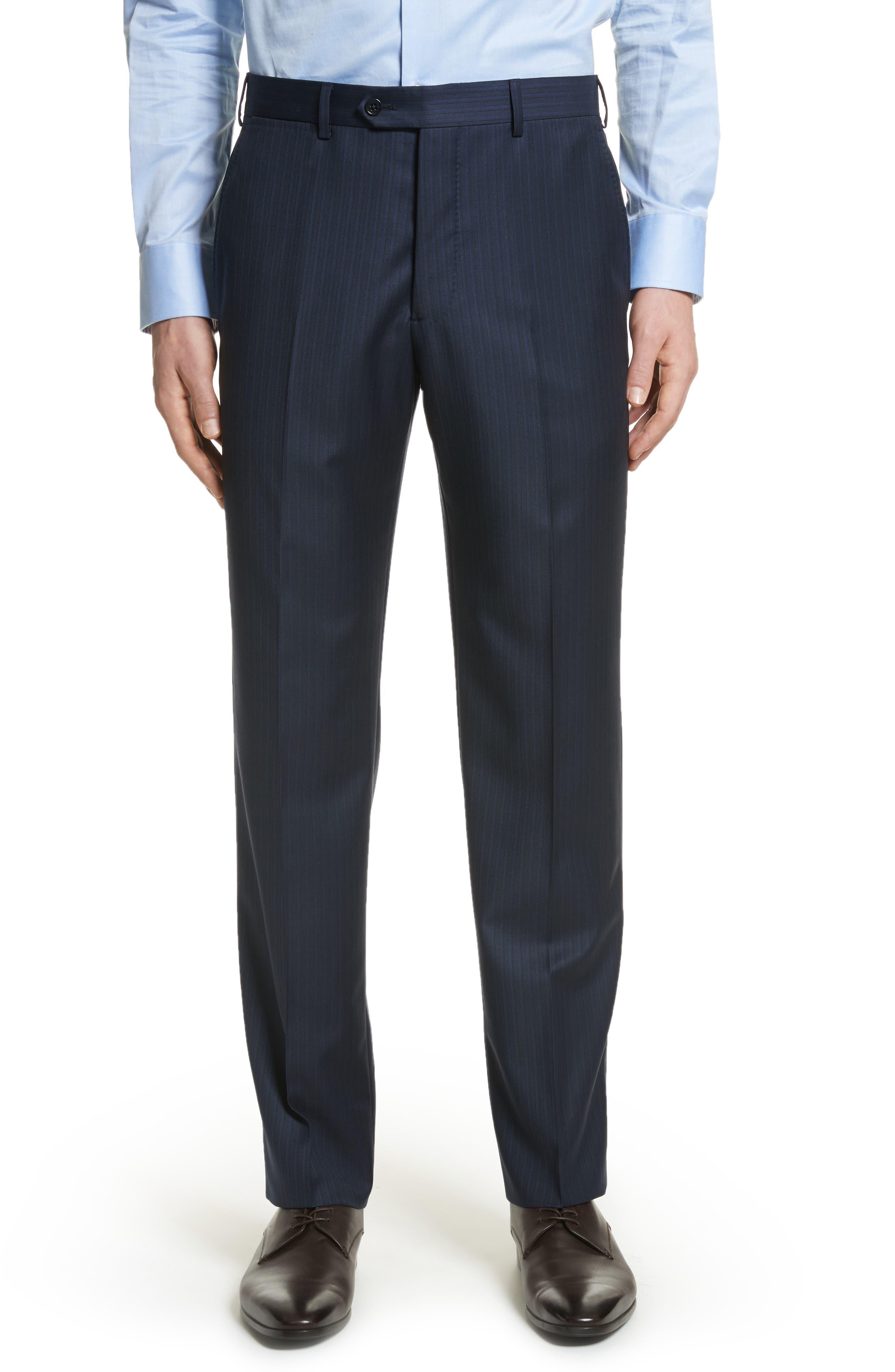 G Line Trim Fit Stripe Wool Suit,                             Alternate thumbnail 5, color,                             Blue