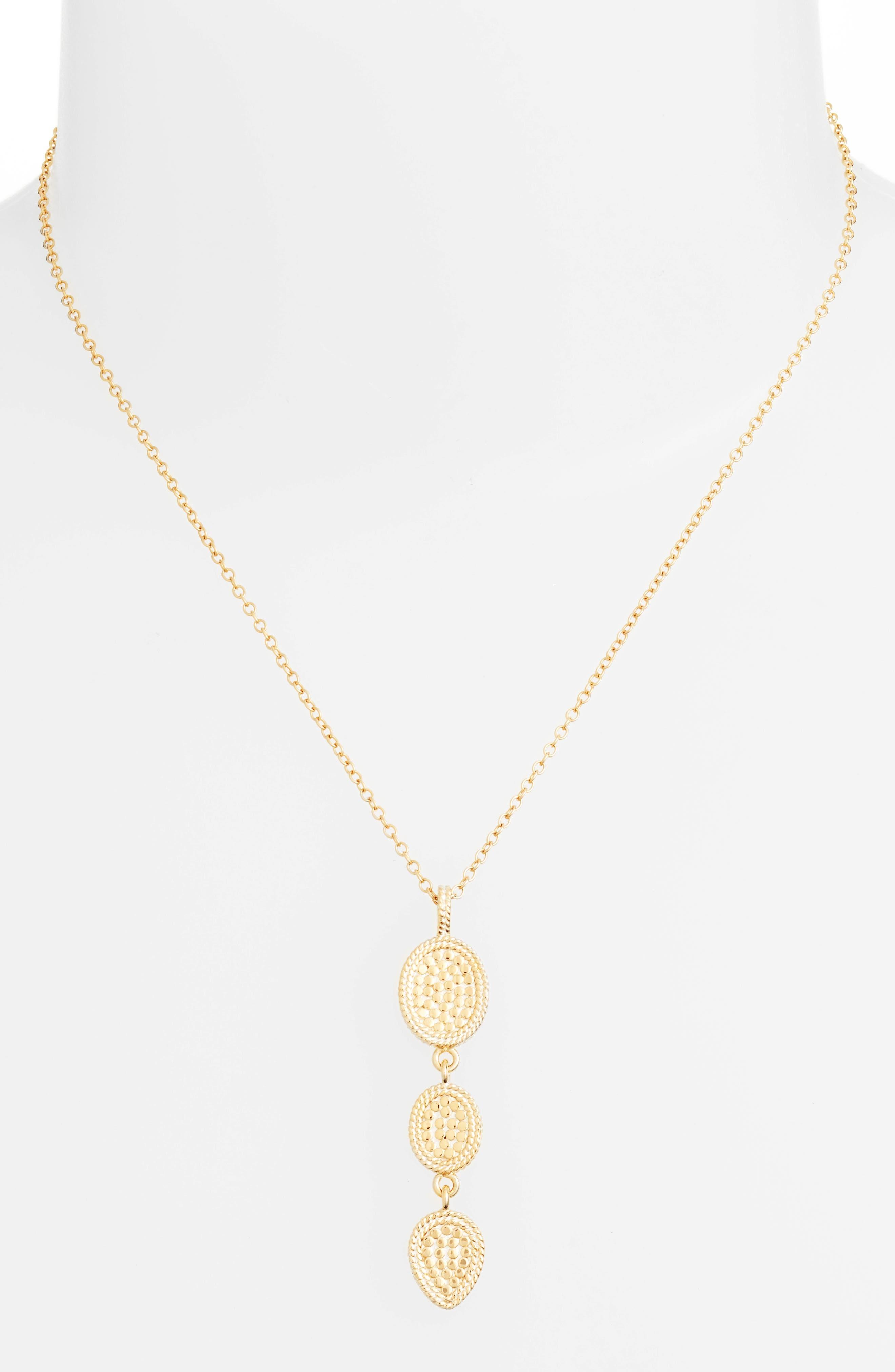 Gold Triple Drop Pendant Necklace,                             Alternate thumbnail 2, color,                             Gold