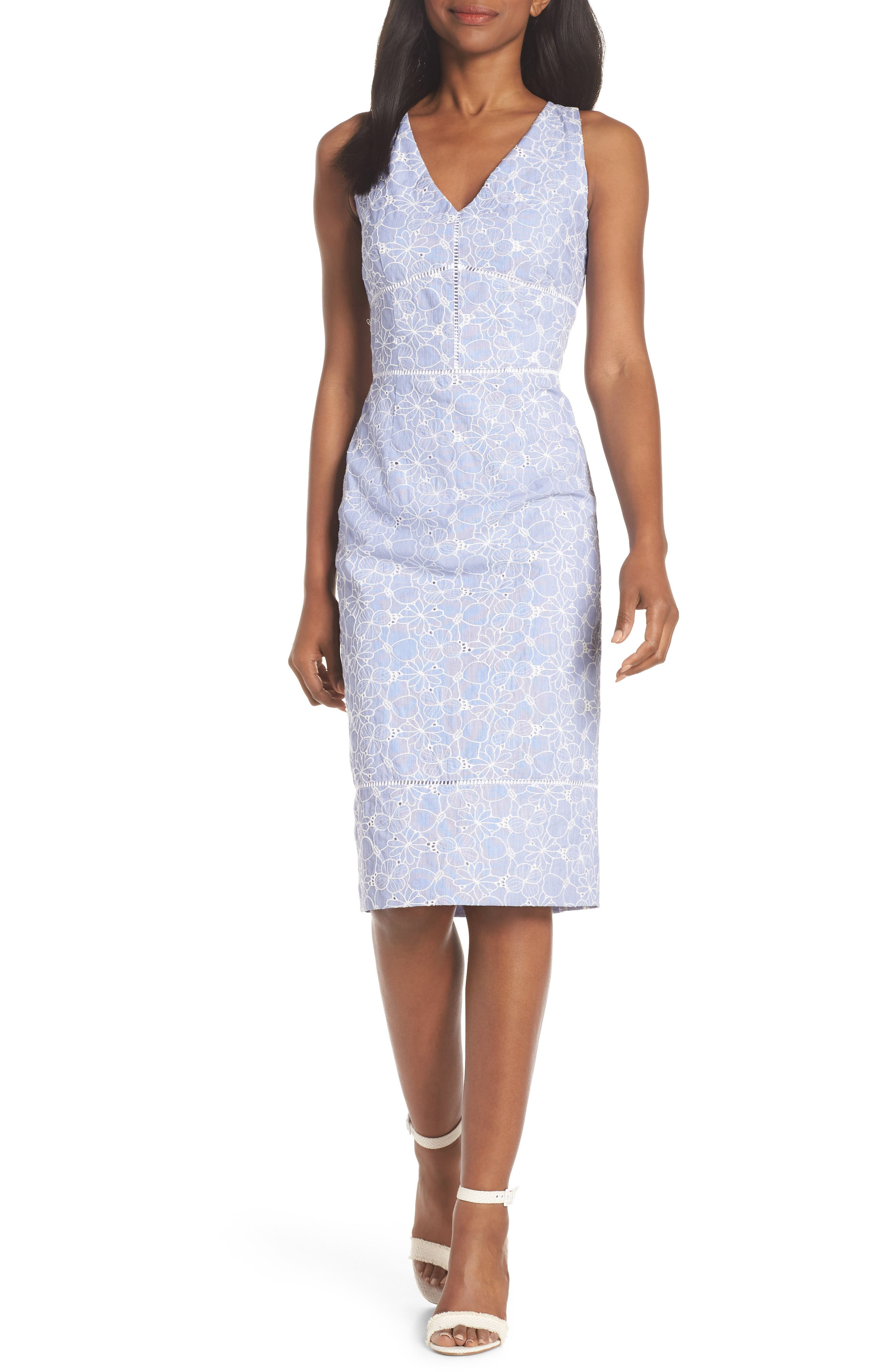 Sleeveless Embroidered Sheath Dress,                         Main,                         color, Blue/ White
