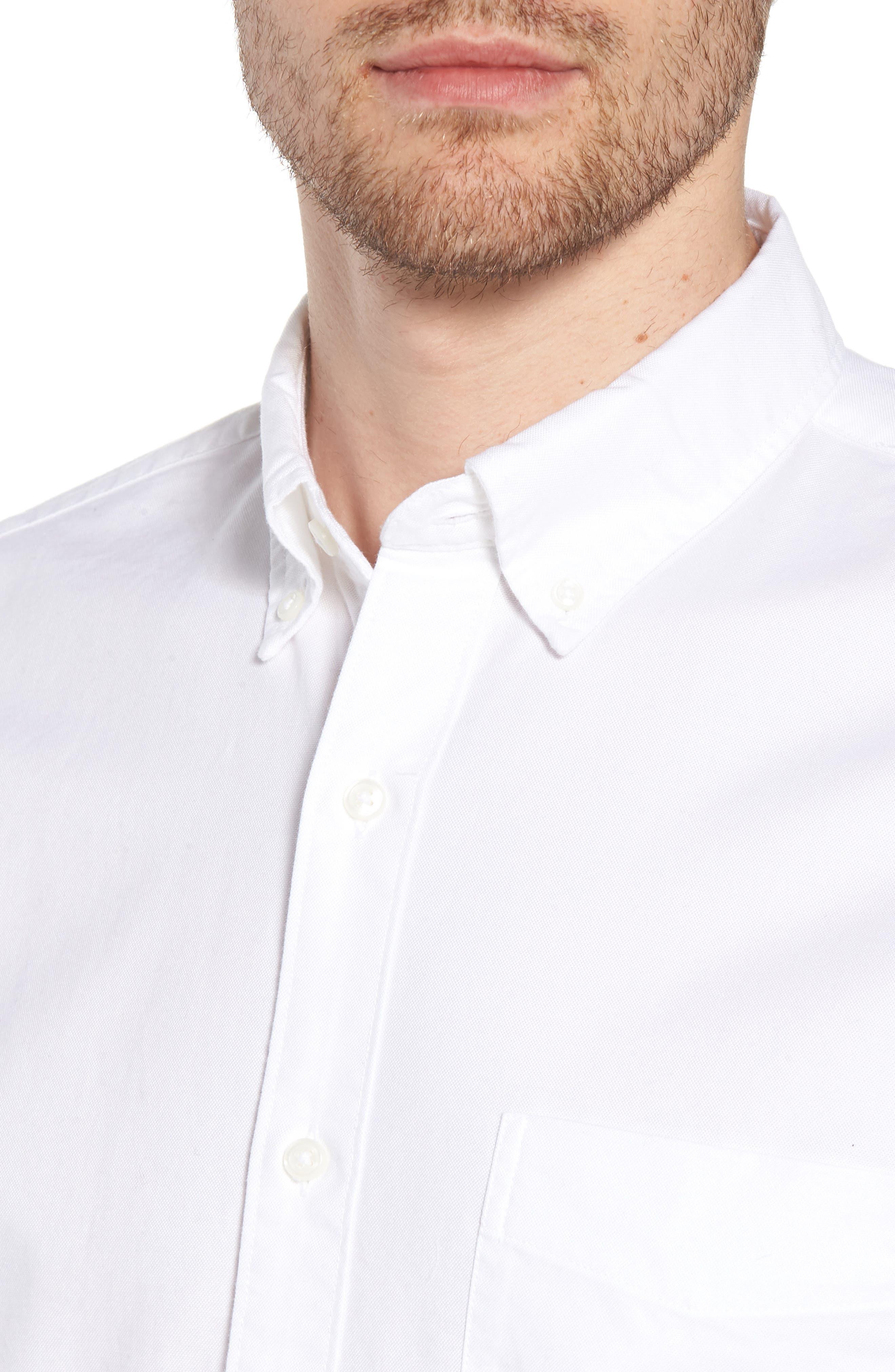 Slim Fit Stretch Pima Cotton Oxford Shirt,                             Alternate thumbnail 2, color,                             White