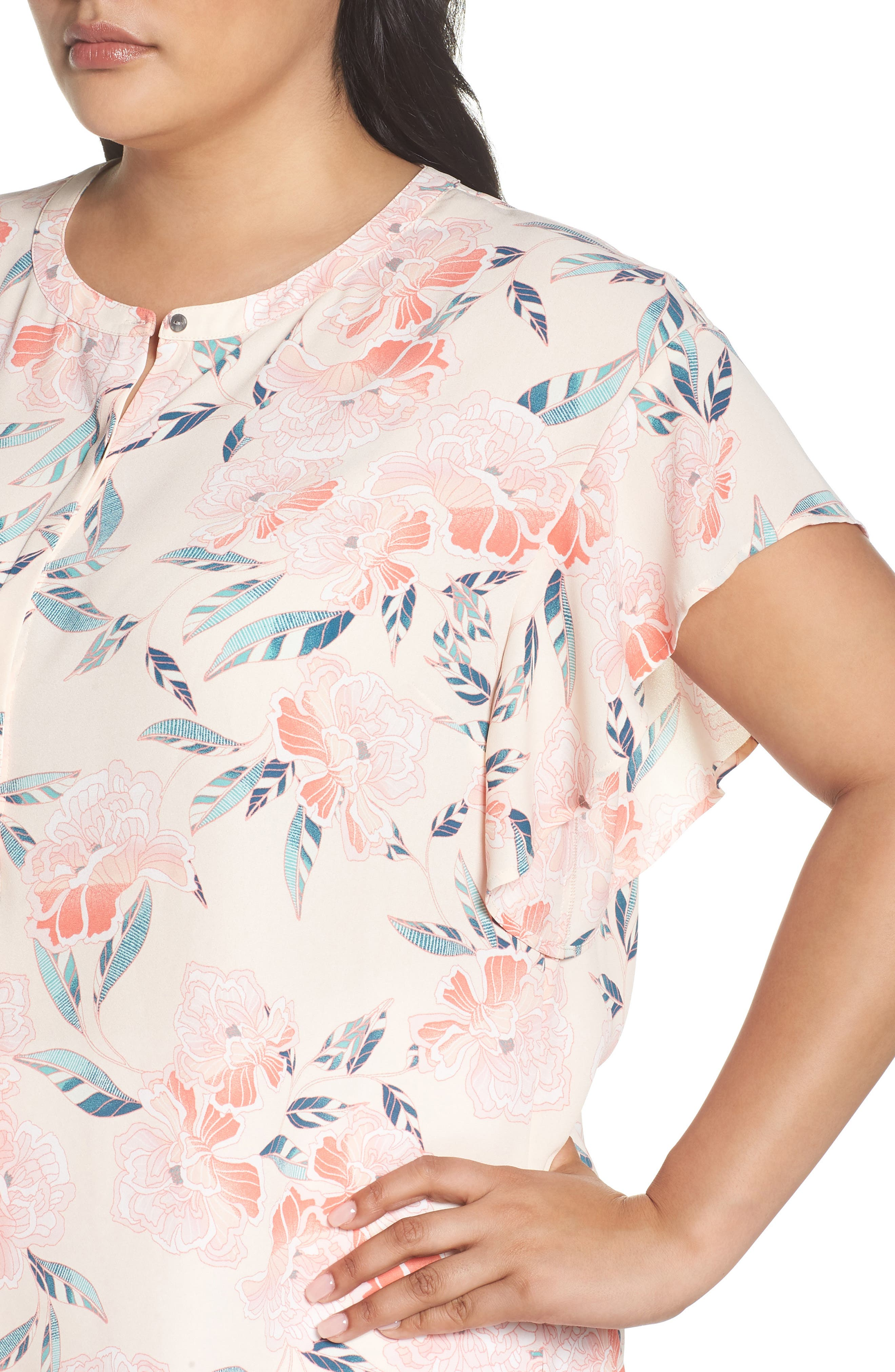 Flutter Sleeve Top,                             Alternate thumbnail 4, color,                             Pink Oriental Print