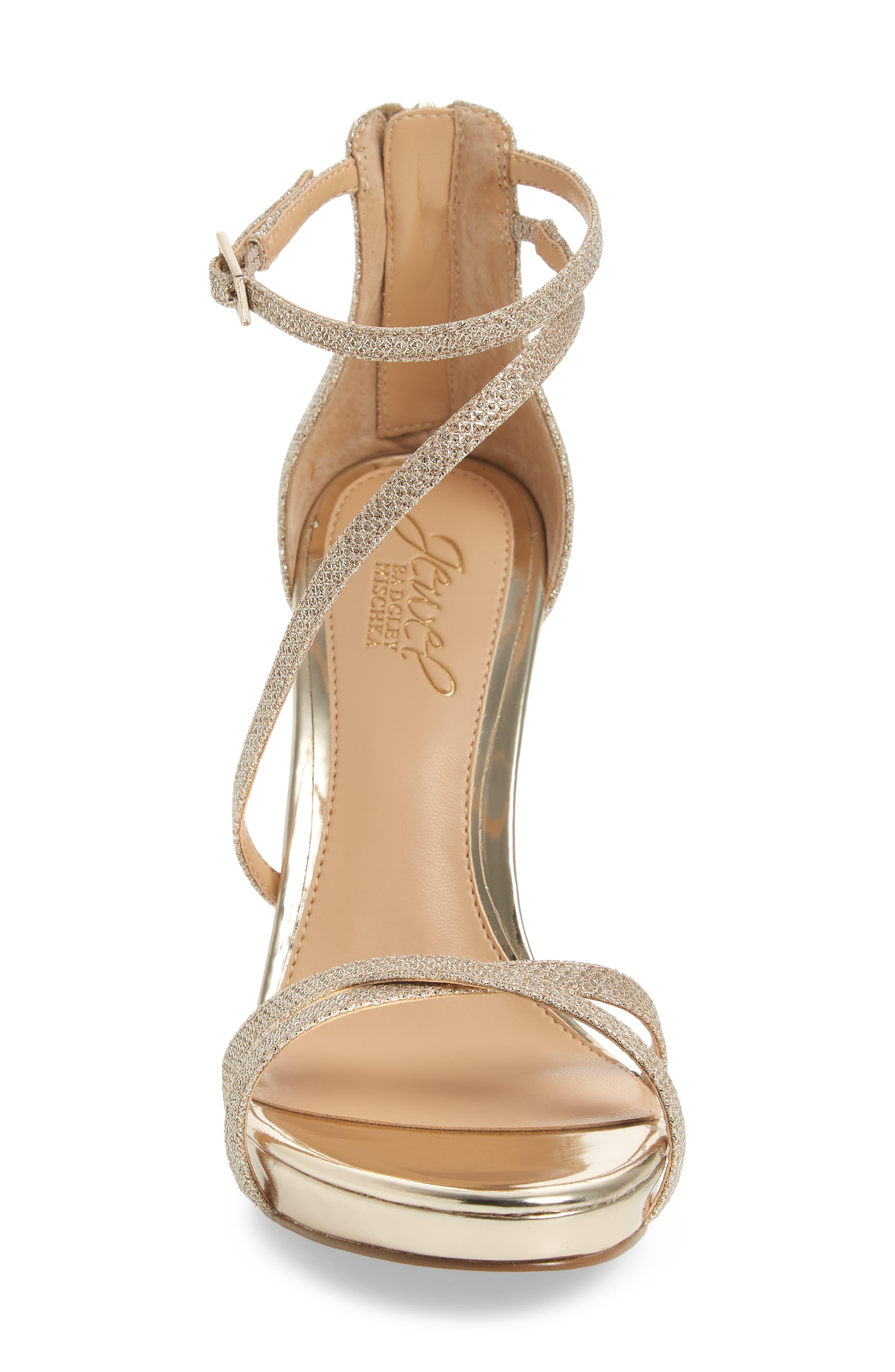 Galen Strappy Platform Sandal,                             Alternate thumbnail 4, color,                             Gold Glitter Fabric