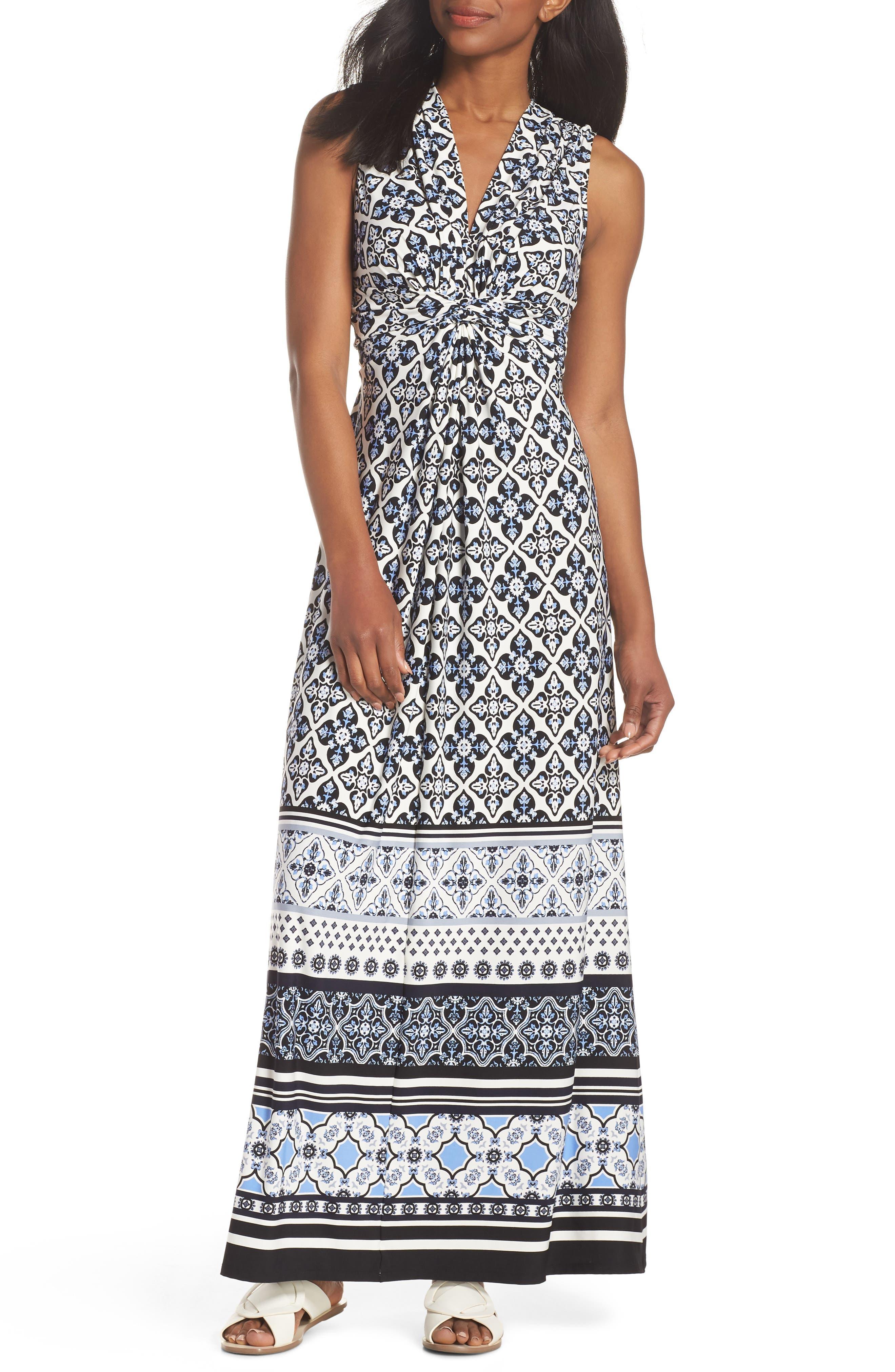 Knot Detail Jersey Maxi Dress,                             Main thumbnail 1, color,                             Blue/ White