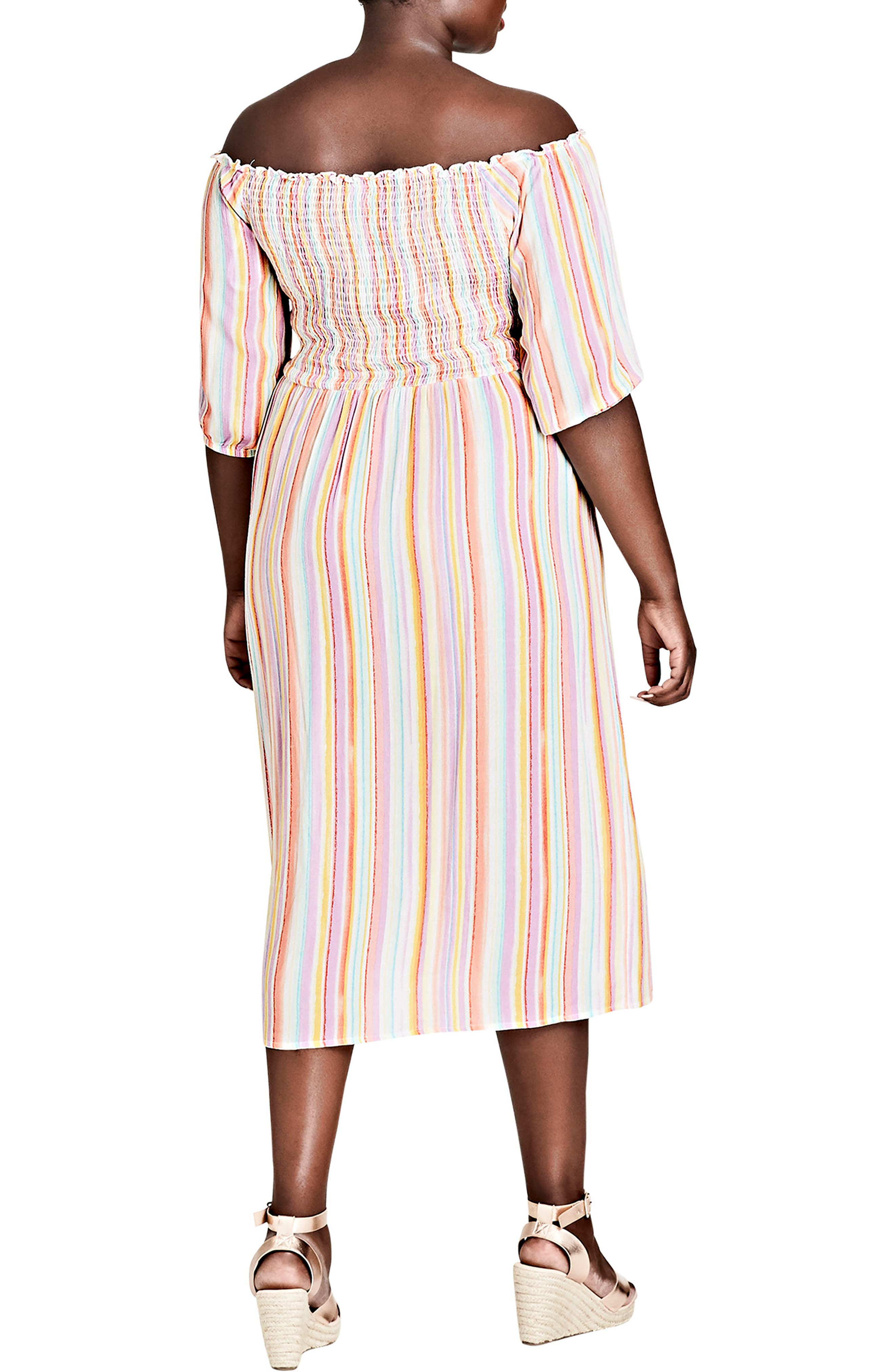 Island Stripe Midi Dress,                             Alternate thumbnail 2, color,                             Island Stripe