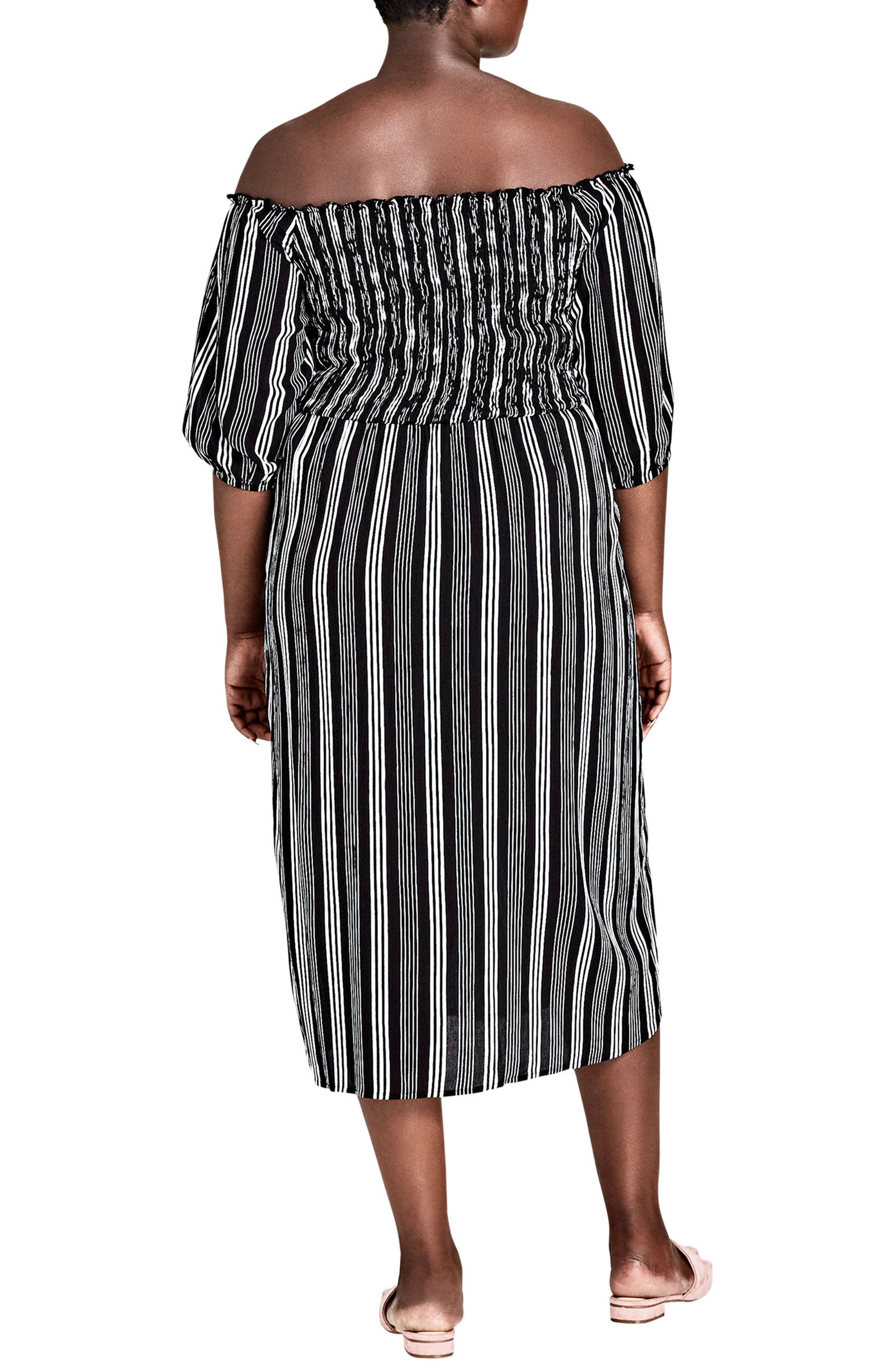 Stripe Play Off the Shoulder Midi Dress,                             Alternate thumbnail 2, color,                             Stripe Play