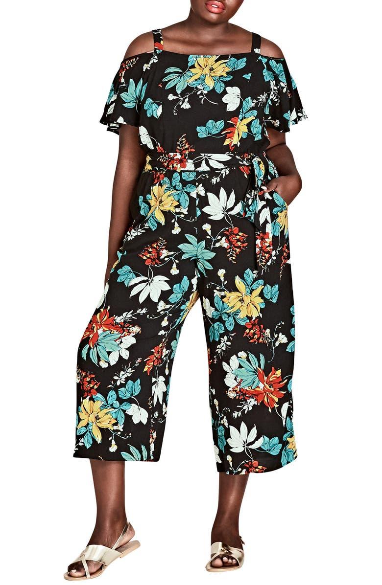 Tropical Print Cold Shoulder Jumpsuit