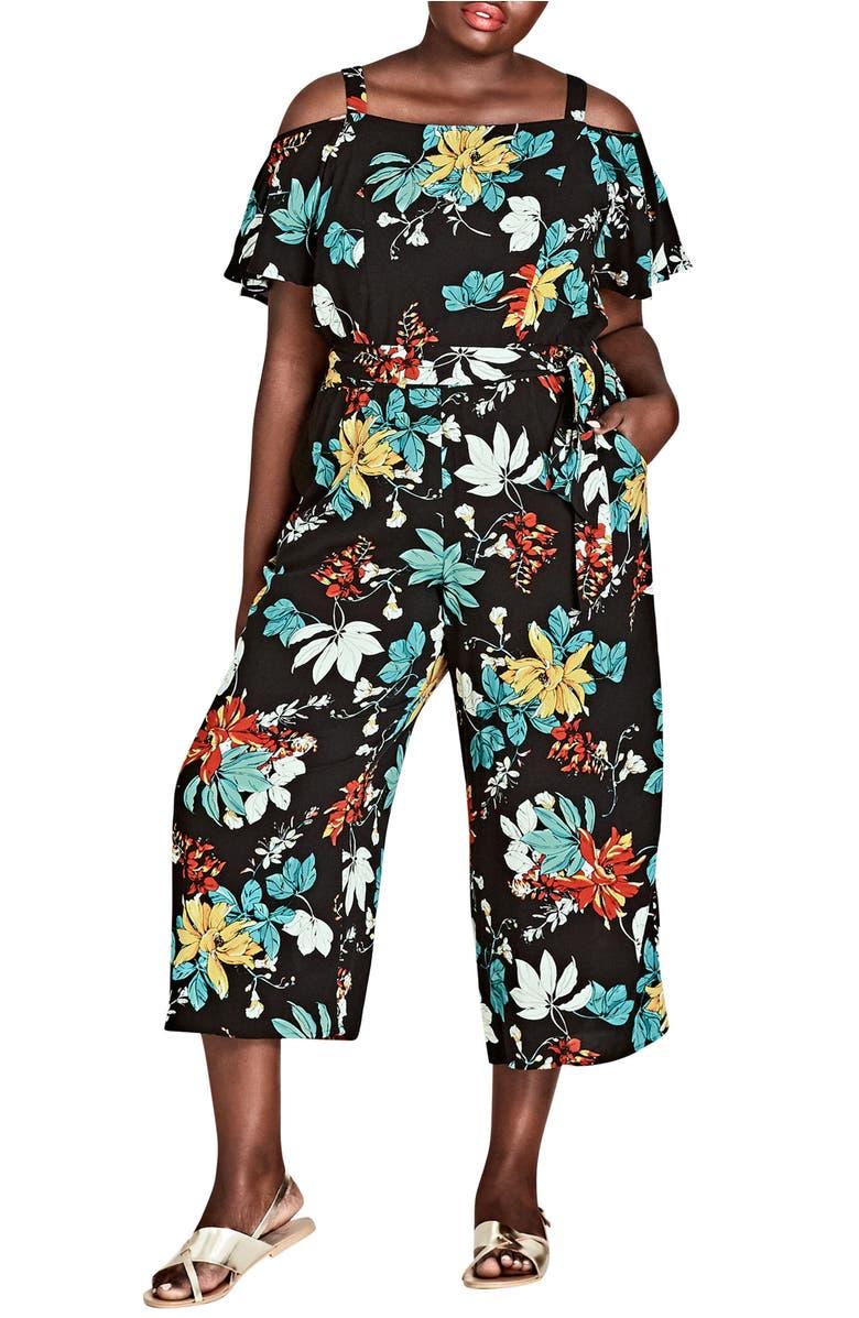 Tropical Print Cold Shoulder Jumpsuit,                         Main,                         color, Tropic Night