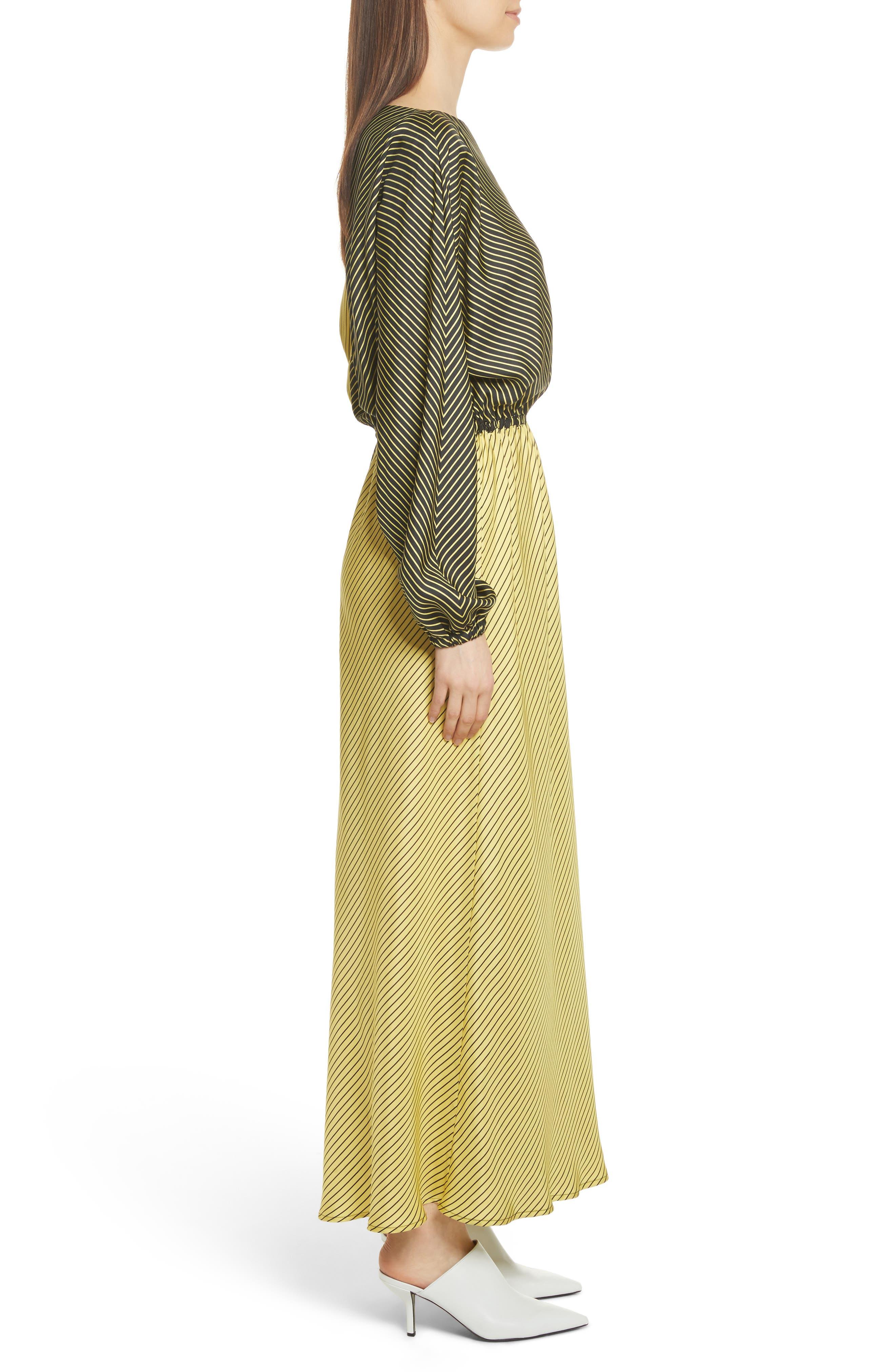 Colorblock Stripe Dress,                             Alternate thumbnail 4, color,                             Black/ Yellow